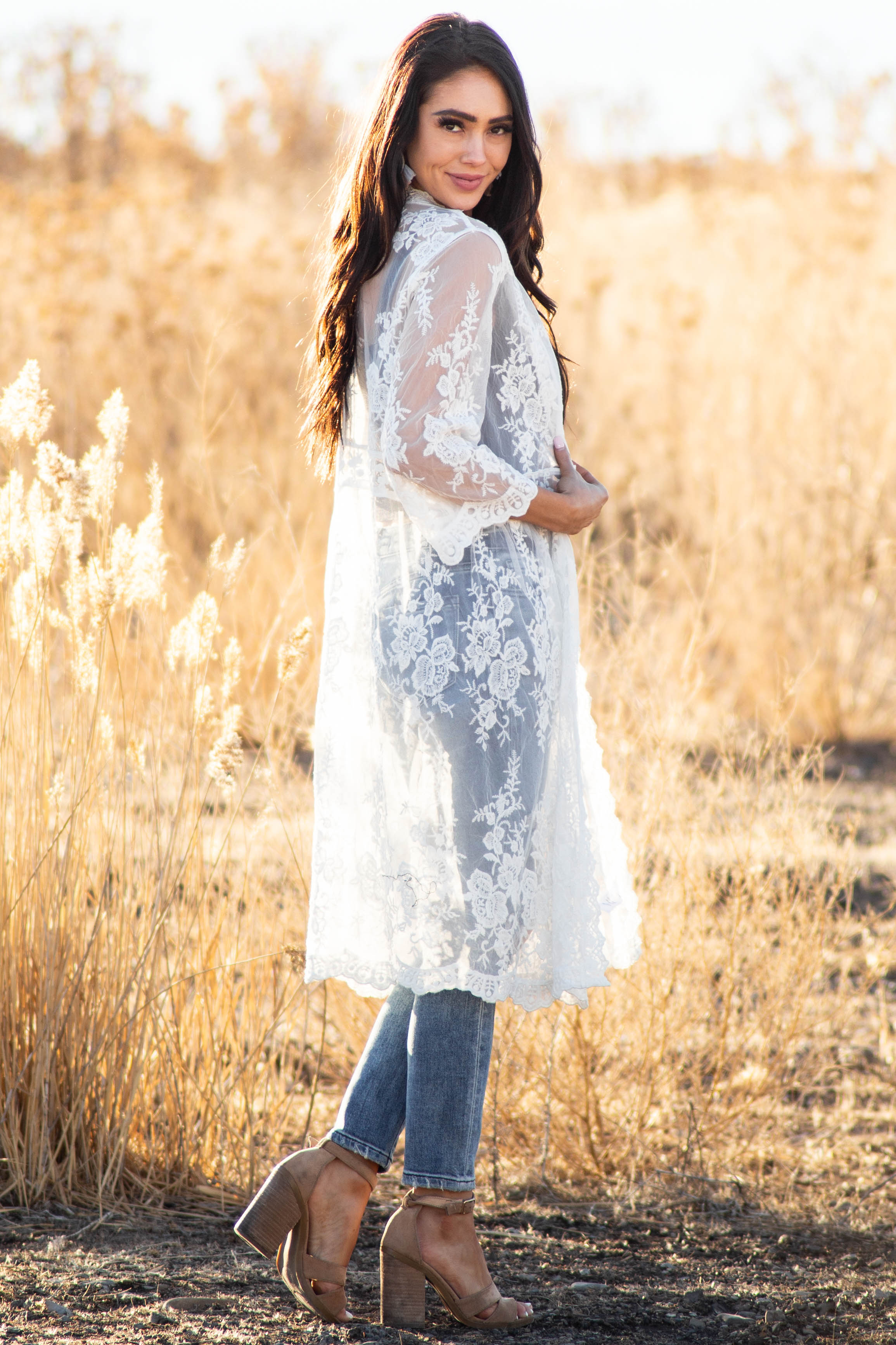 Ivory Crotched Lace Long Length Kimono with Short Sleeves