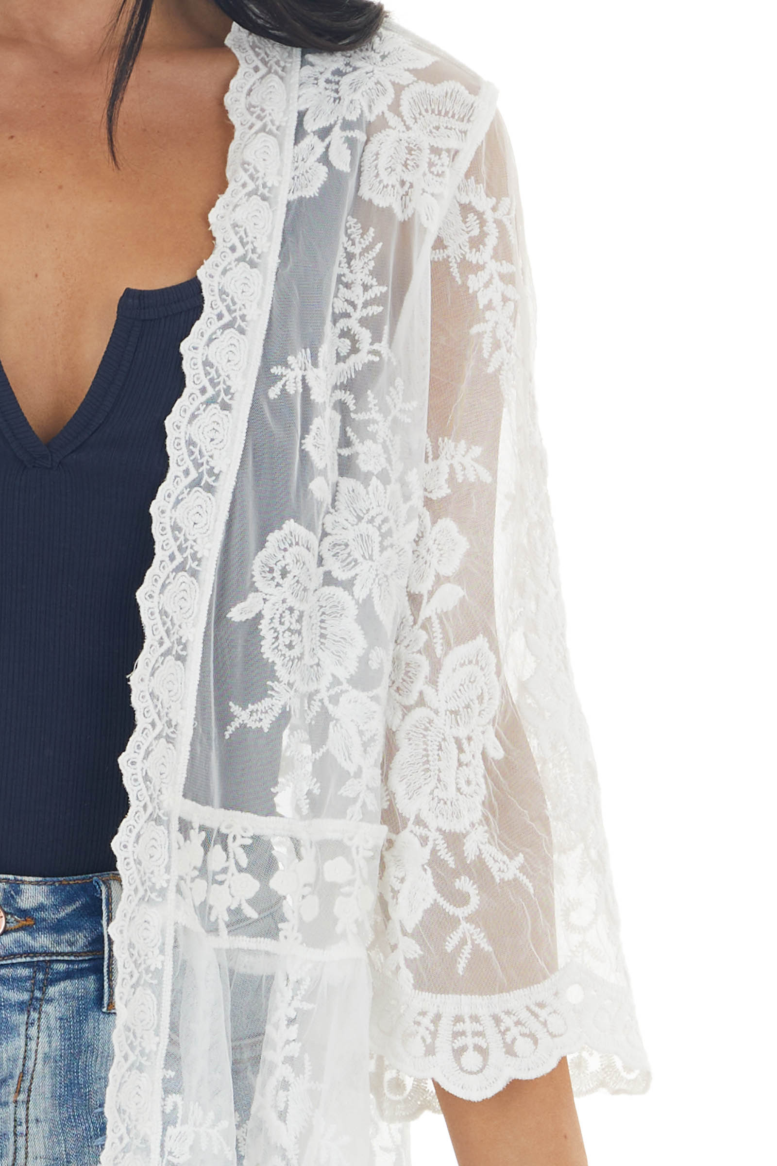 Ivory Crocheted Lace Long Length Kimono with Short Sleeves