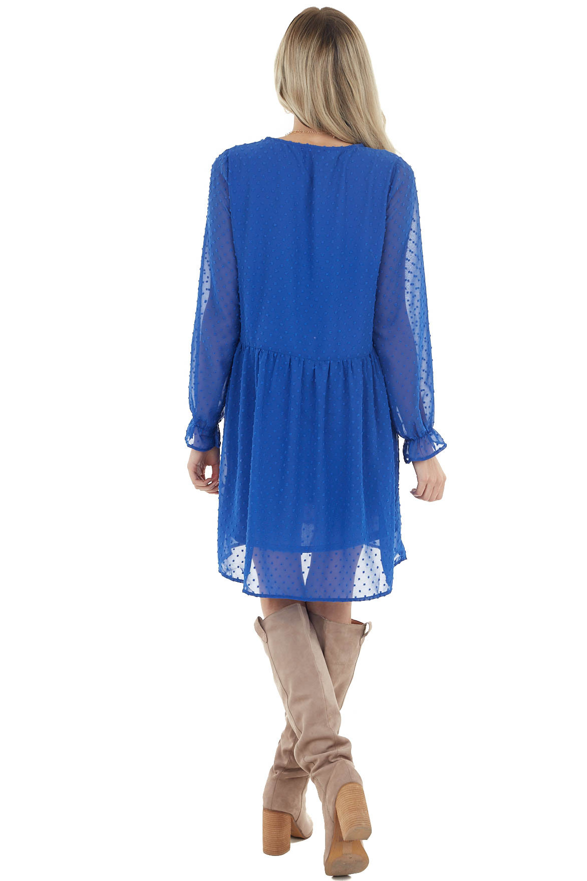 Royal Blue Swiss Dot Babydoll Dress with Long Bubble Sleeves