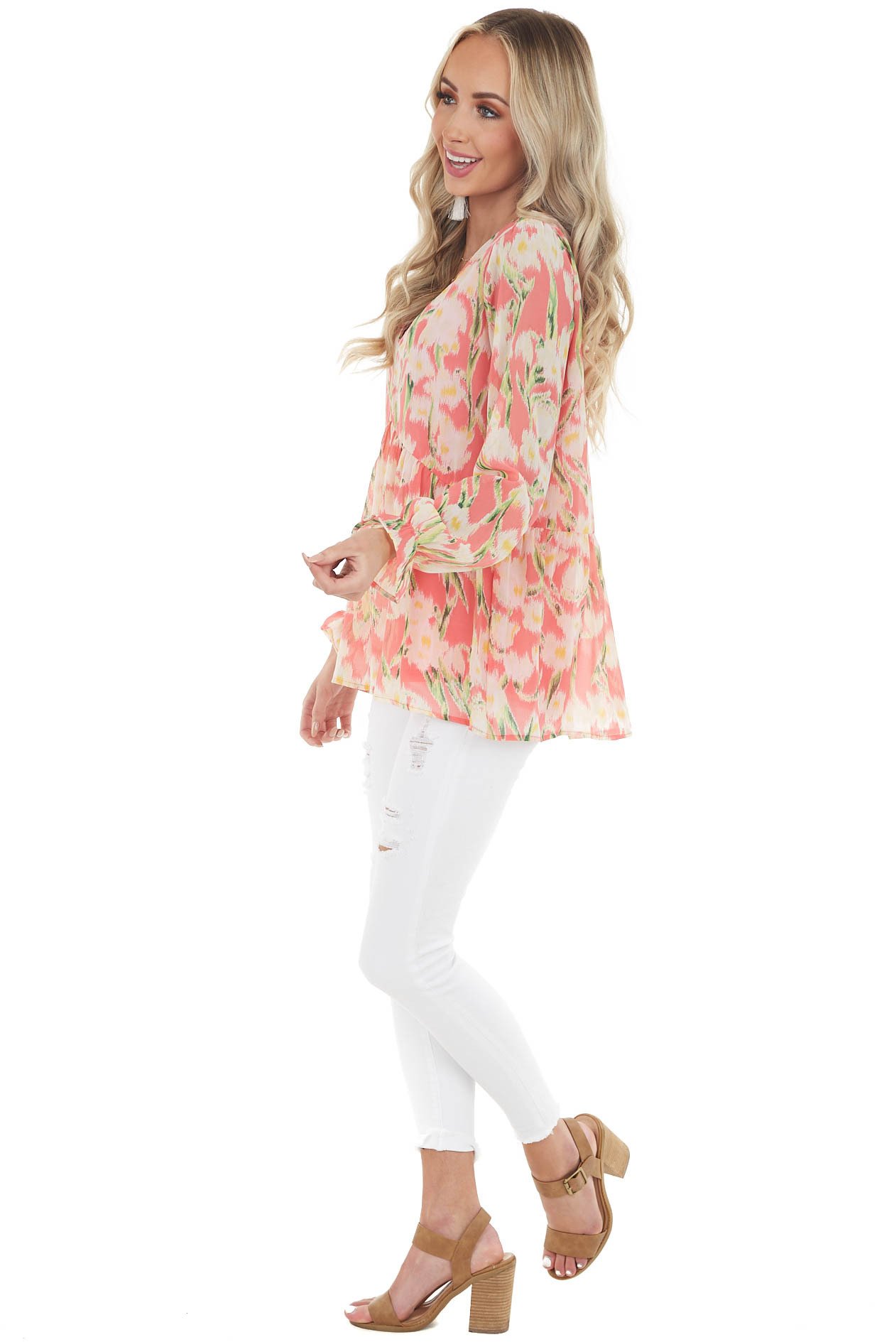 Coral Floral Print Long Bubble Sleeve Babydoll V Neck Top