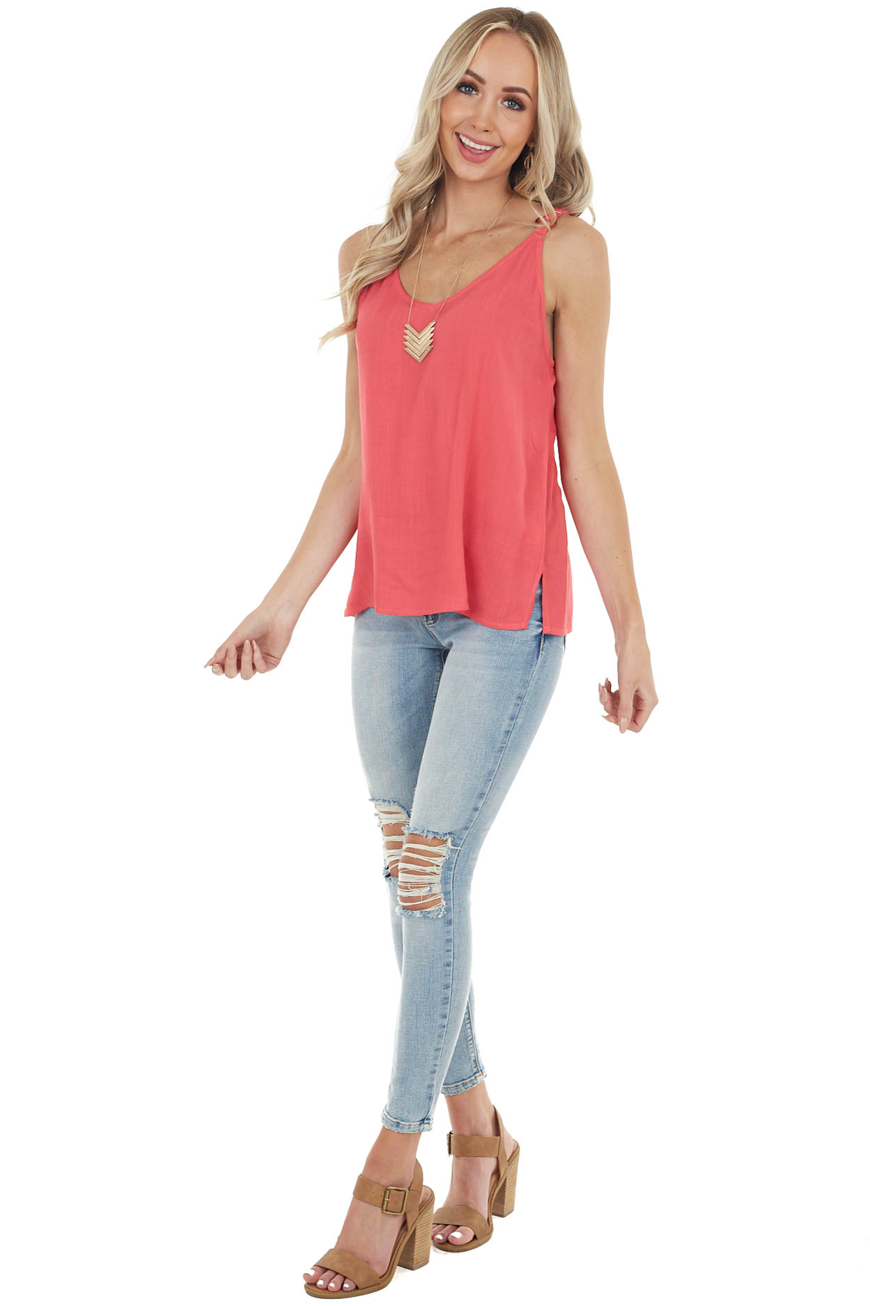 Punch Pink V Neckline Sleeveless Blouse with Side Slits