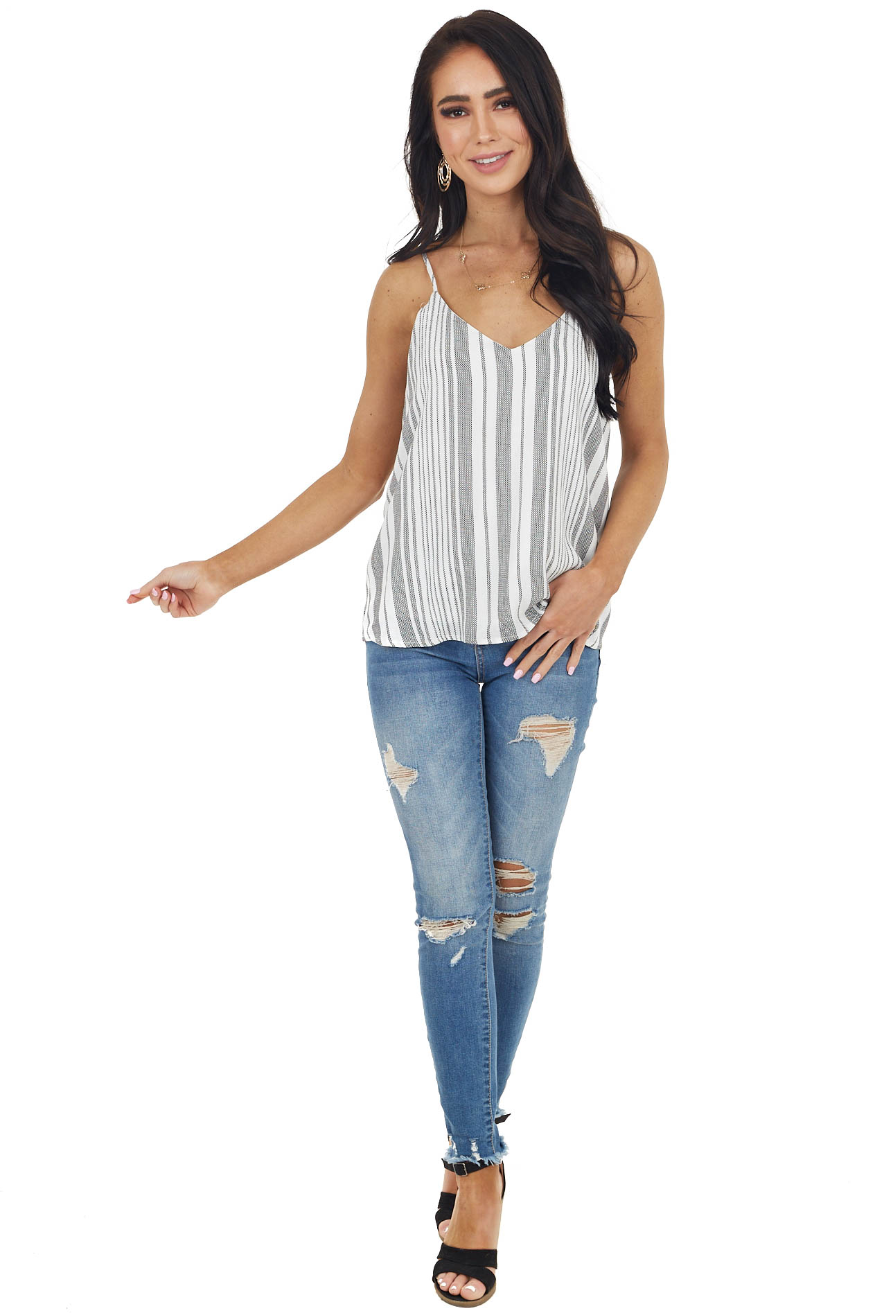 Black and White Striped Tank Top with V Neckline