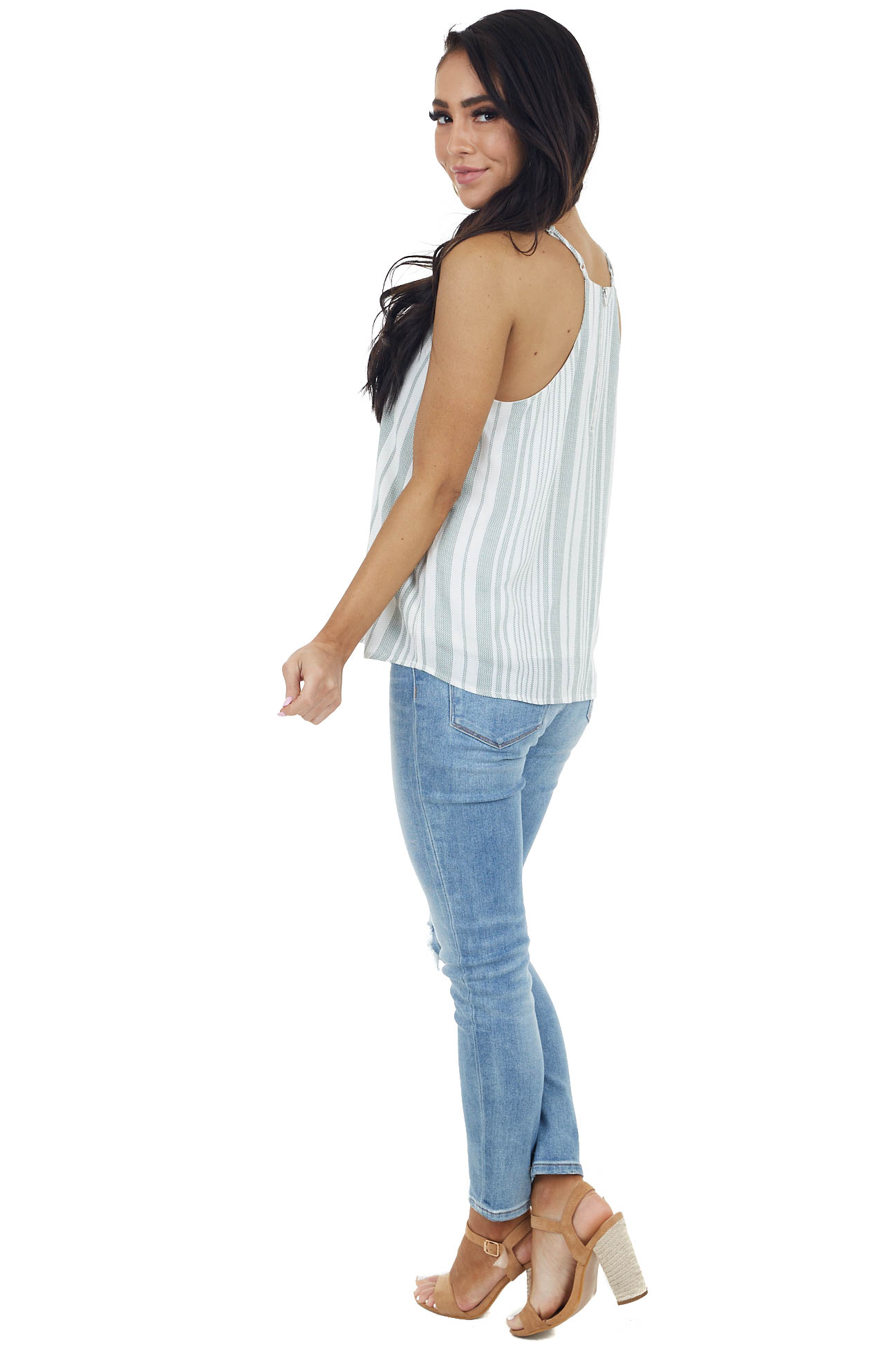 Sage and White Striped Tank Top with V Neckline