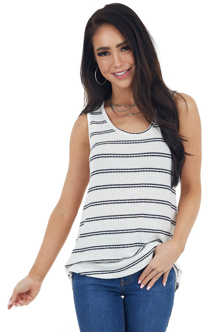 Ivory and Navy Striped Sleeveless Top with Round Neckline
