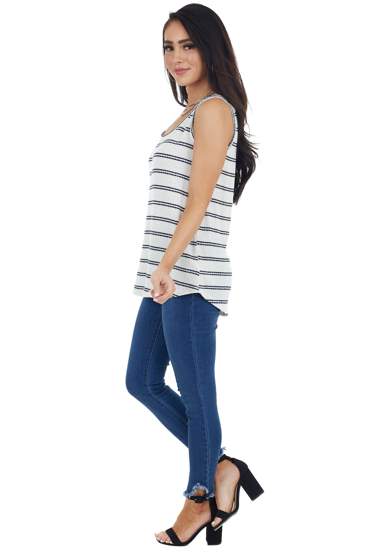 Ivory and Navy Striped Sleeveless Top with Round Necklinev