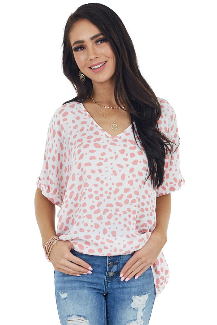 Ivory and Coral Patterned V Neckline Short Sleeved Blouse
