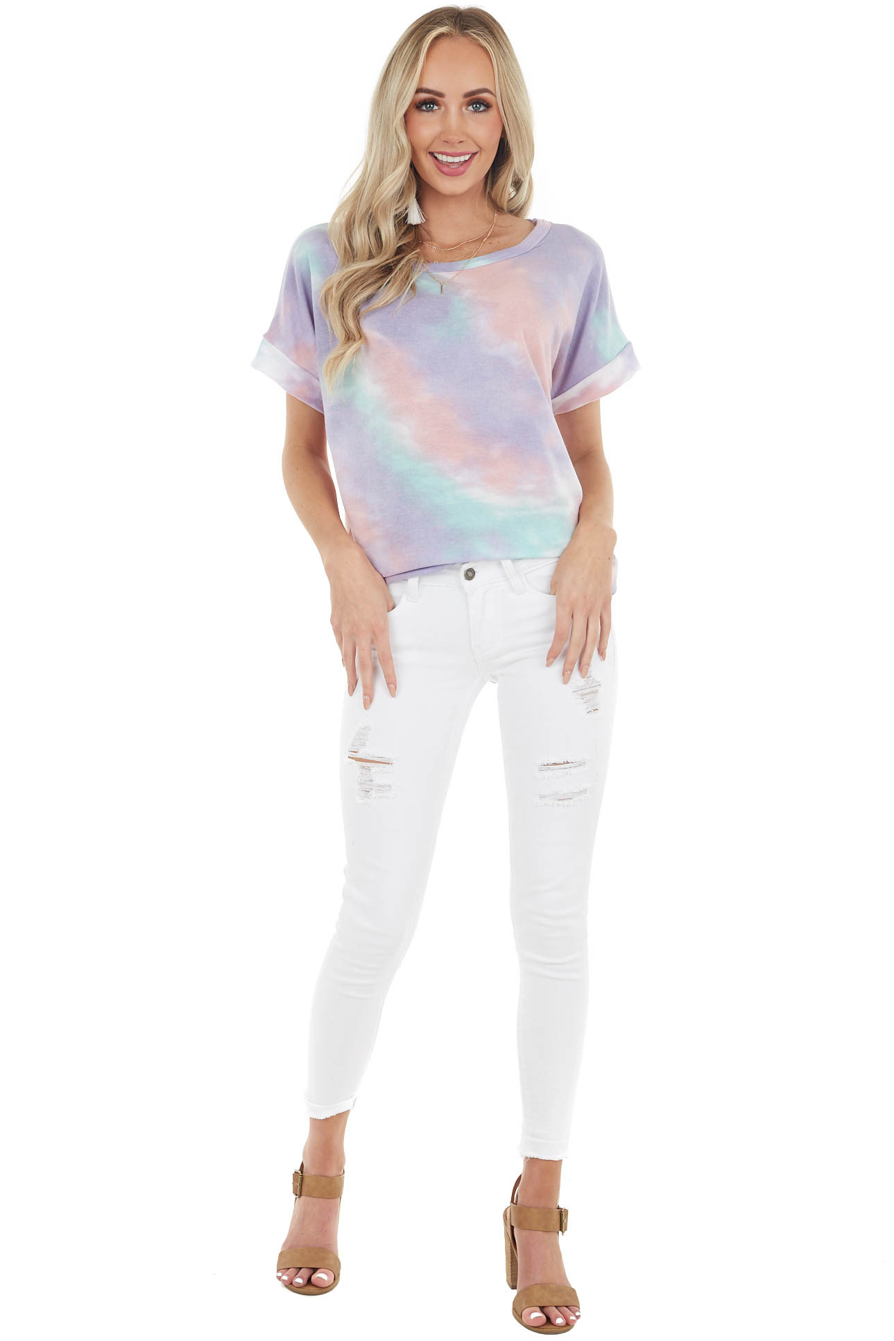 Lavender and Mint Tie Dye Short Sleeve Stretchy Knit Top