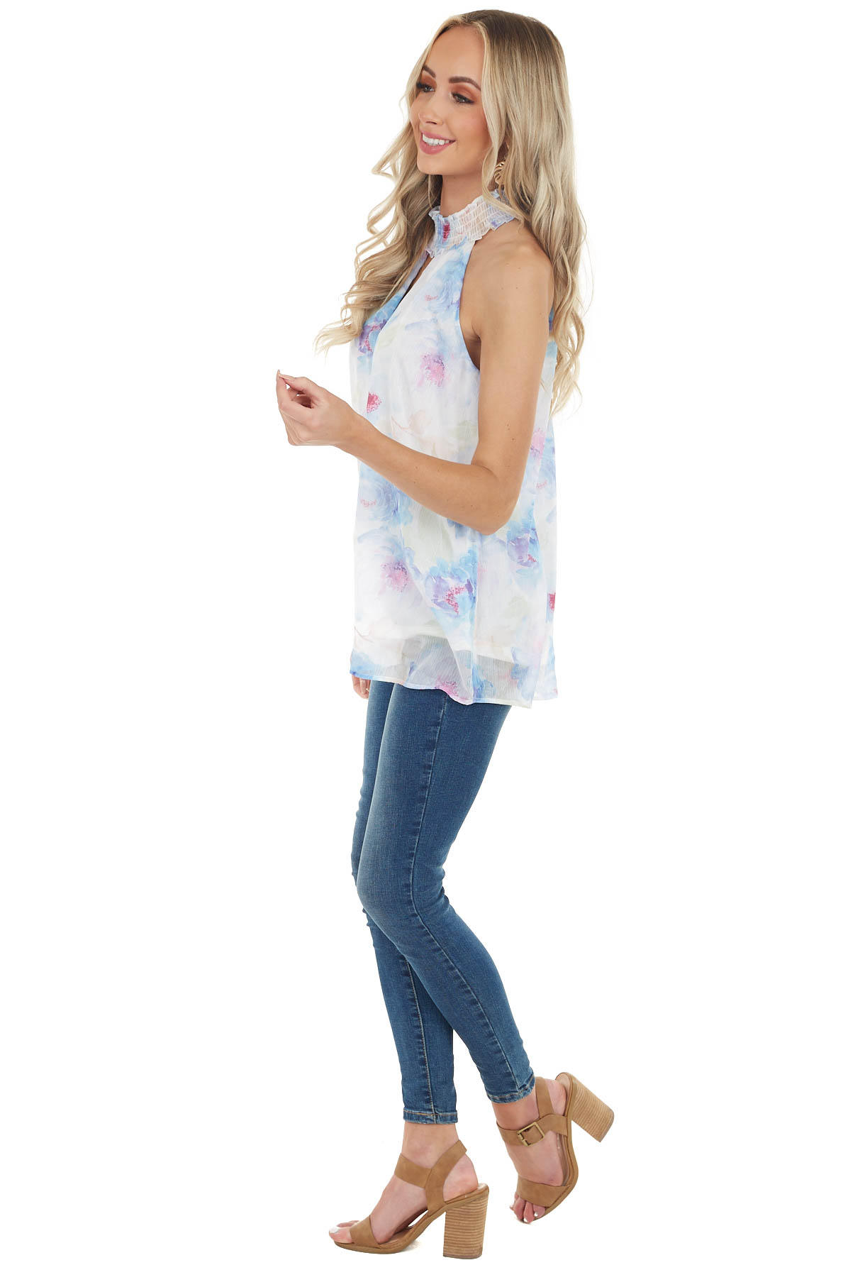 Cobalt Blue Floral Print Sleeveless Top with Keyhole Detail
