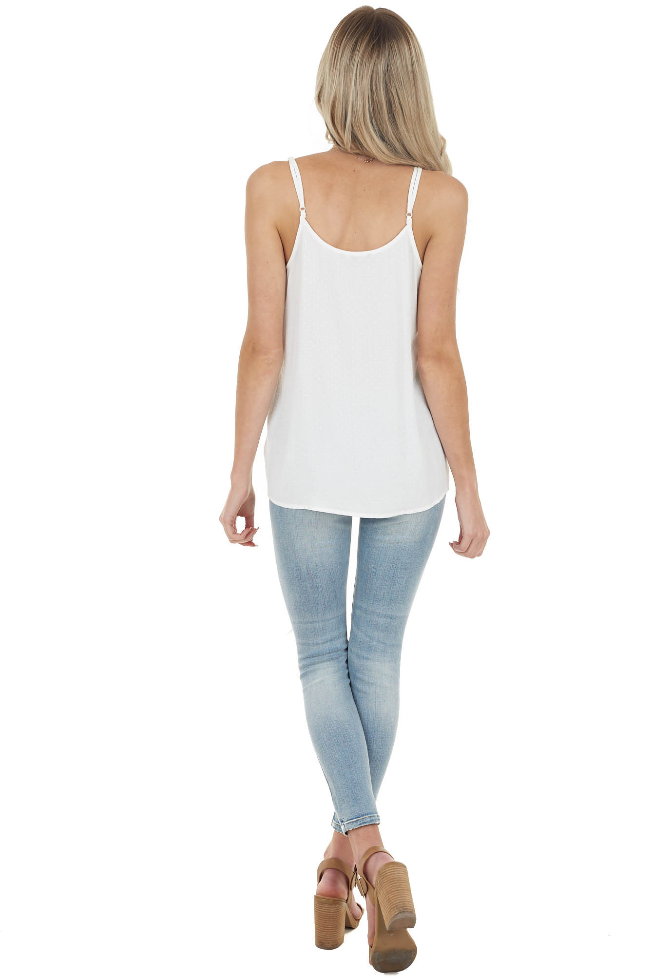 Off White Textured Tank Top with Crochet Lace Details