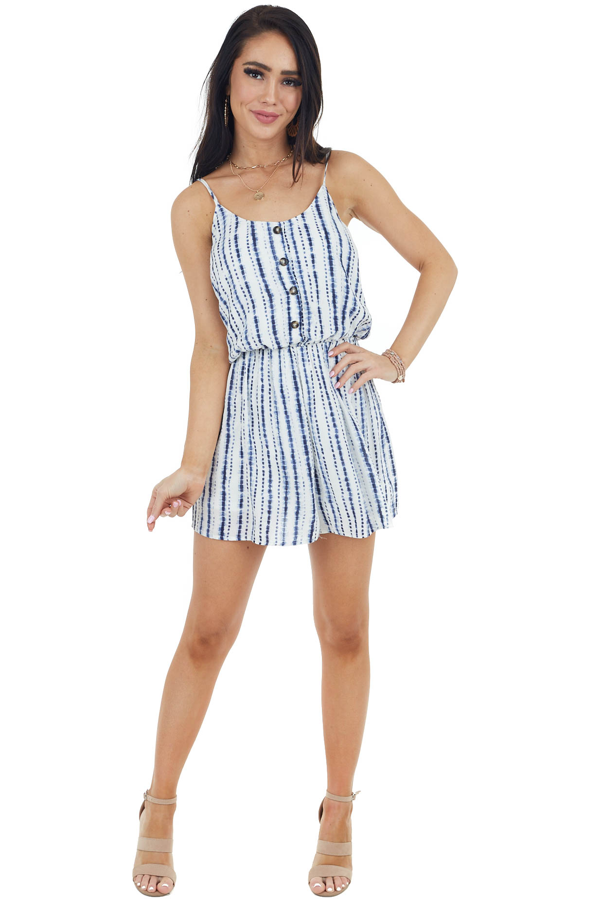 Navy and Ivory Tie Dye Sleeveless Romper with Buttons