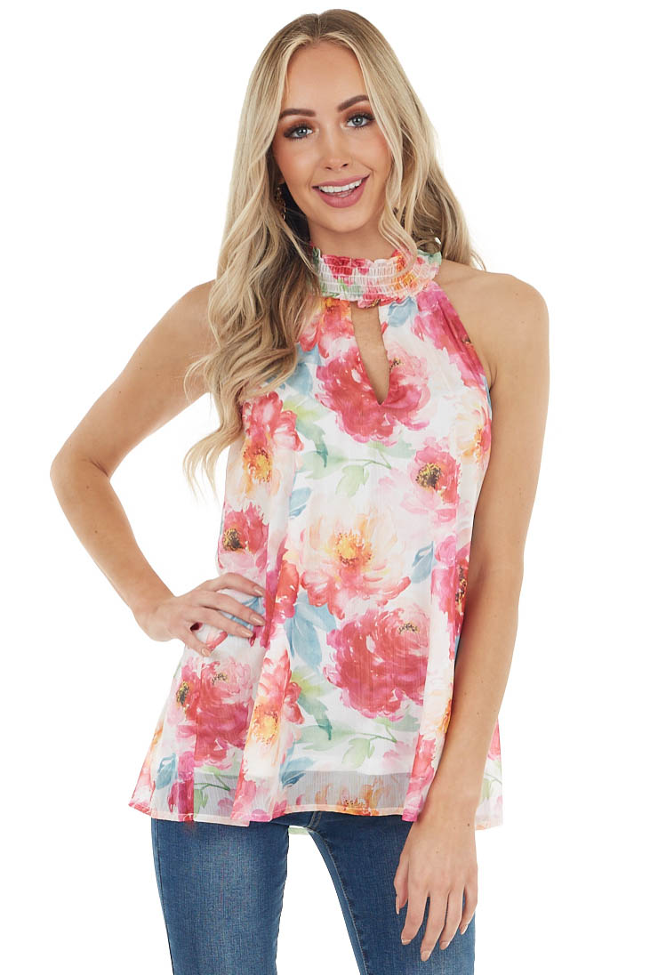 Lipstick Red Floral Print Sleeveless Top with Keyhole Detail
