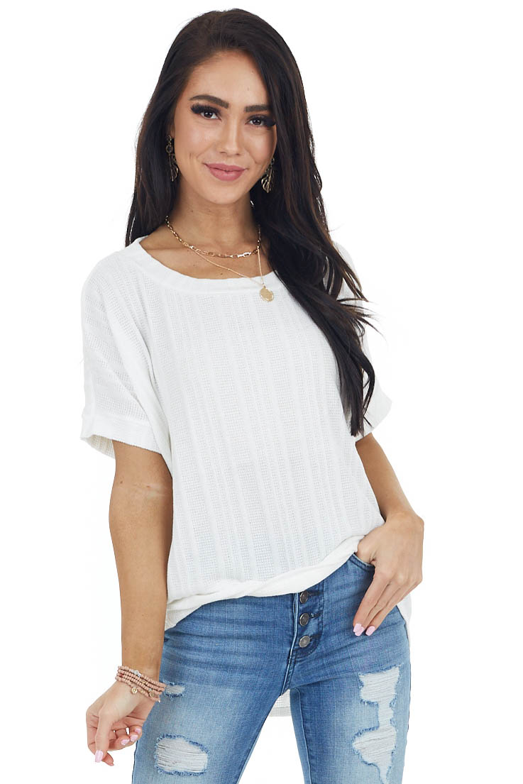 Ivory Textured Knit Loose Fit Top with Short Dolman Sleeves