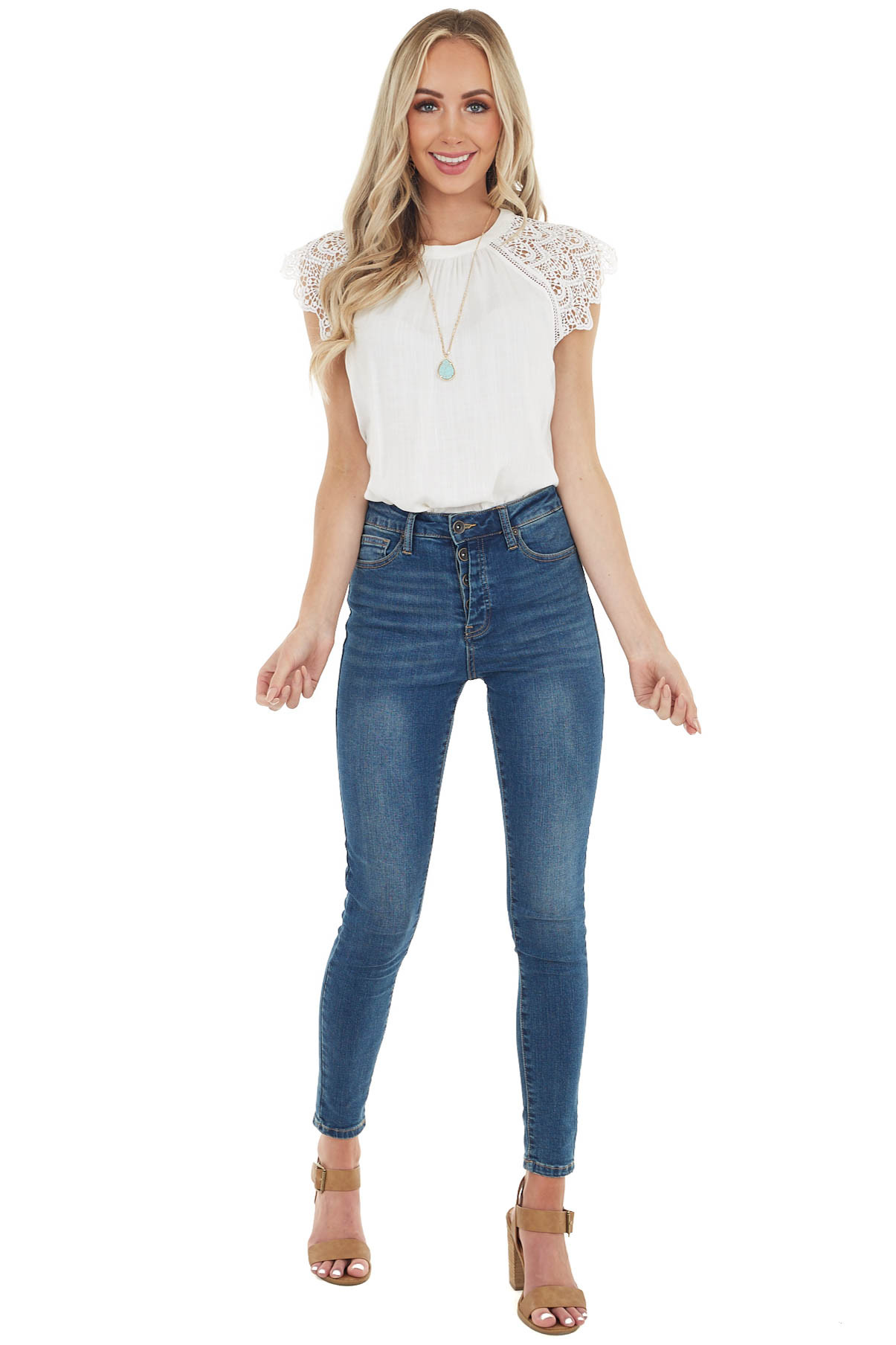 Ivory Lace Short Sleeve Top with Keyhole Back Detail