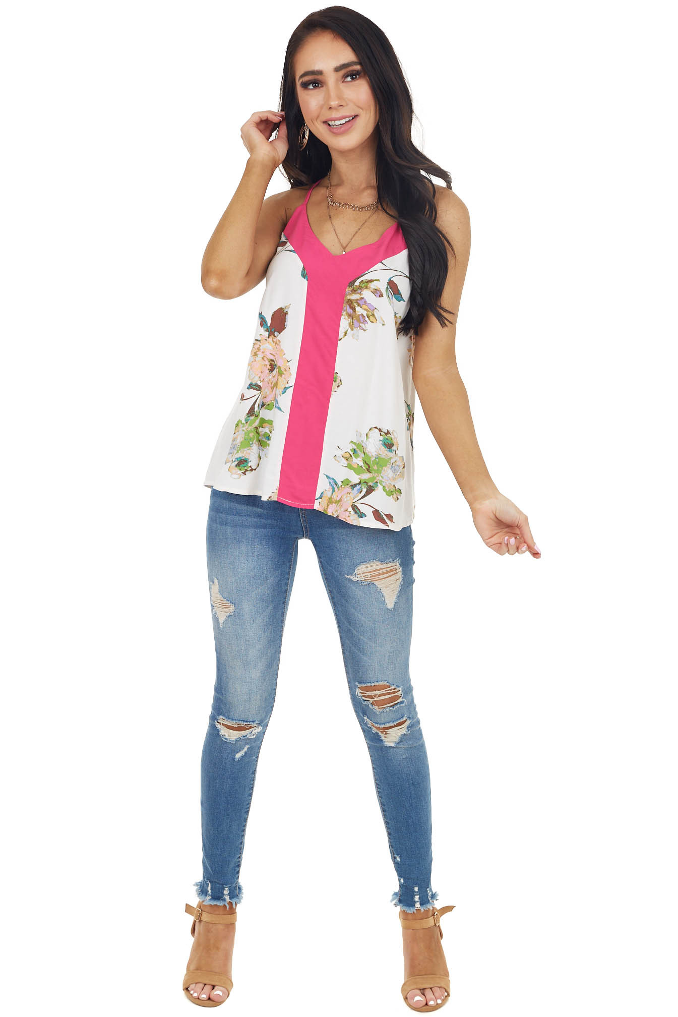 Fuchsia and Ivory Flower Print Woven Tank Top