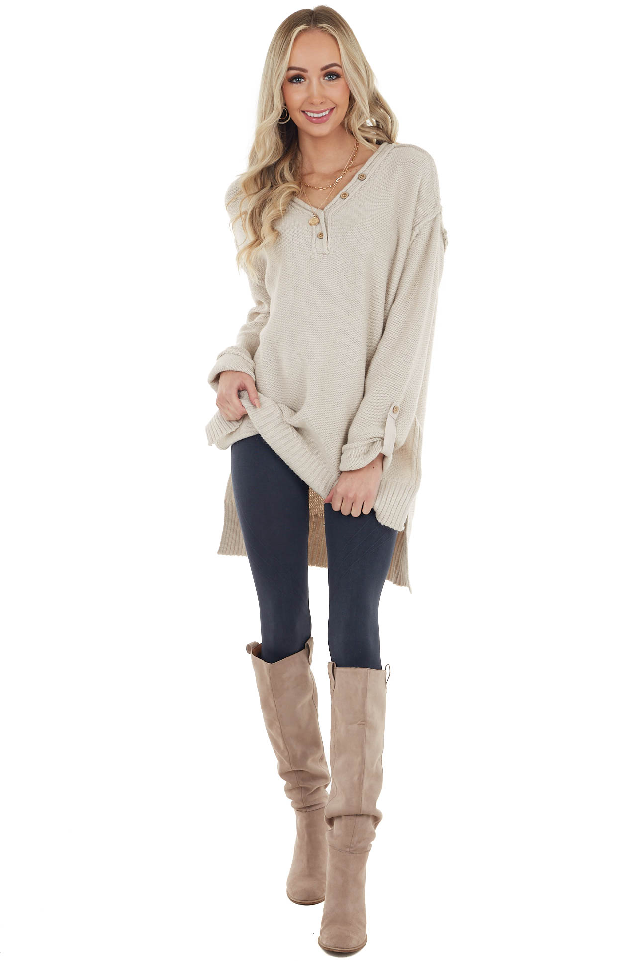 Oatmeal Long Sleeve V Neck Knit Sweater with Button Details