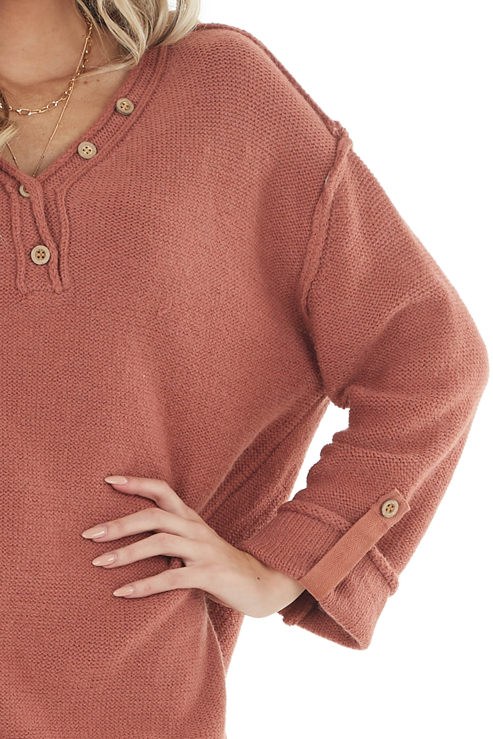 Tawny Long Sleeve V Neck Knit Sweater with Button Details