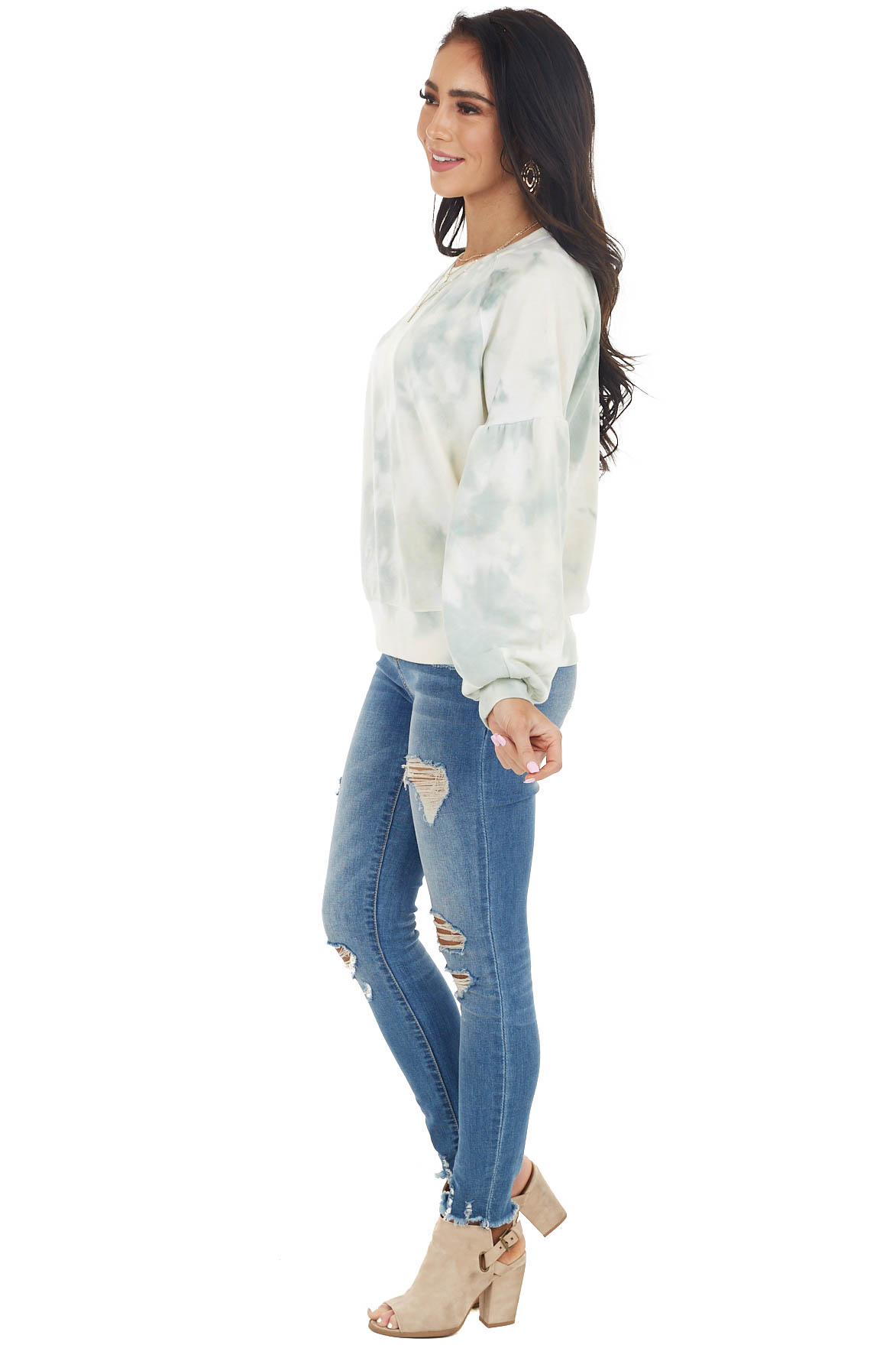 Sage and Cream Tie Dye Top with Long Drop Shoulder Sleeves