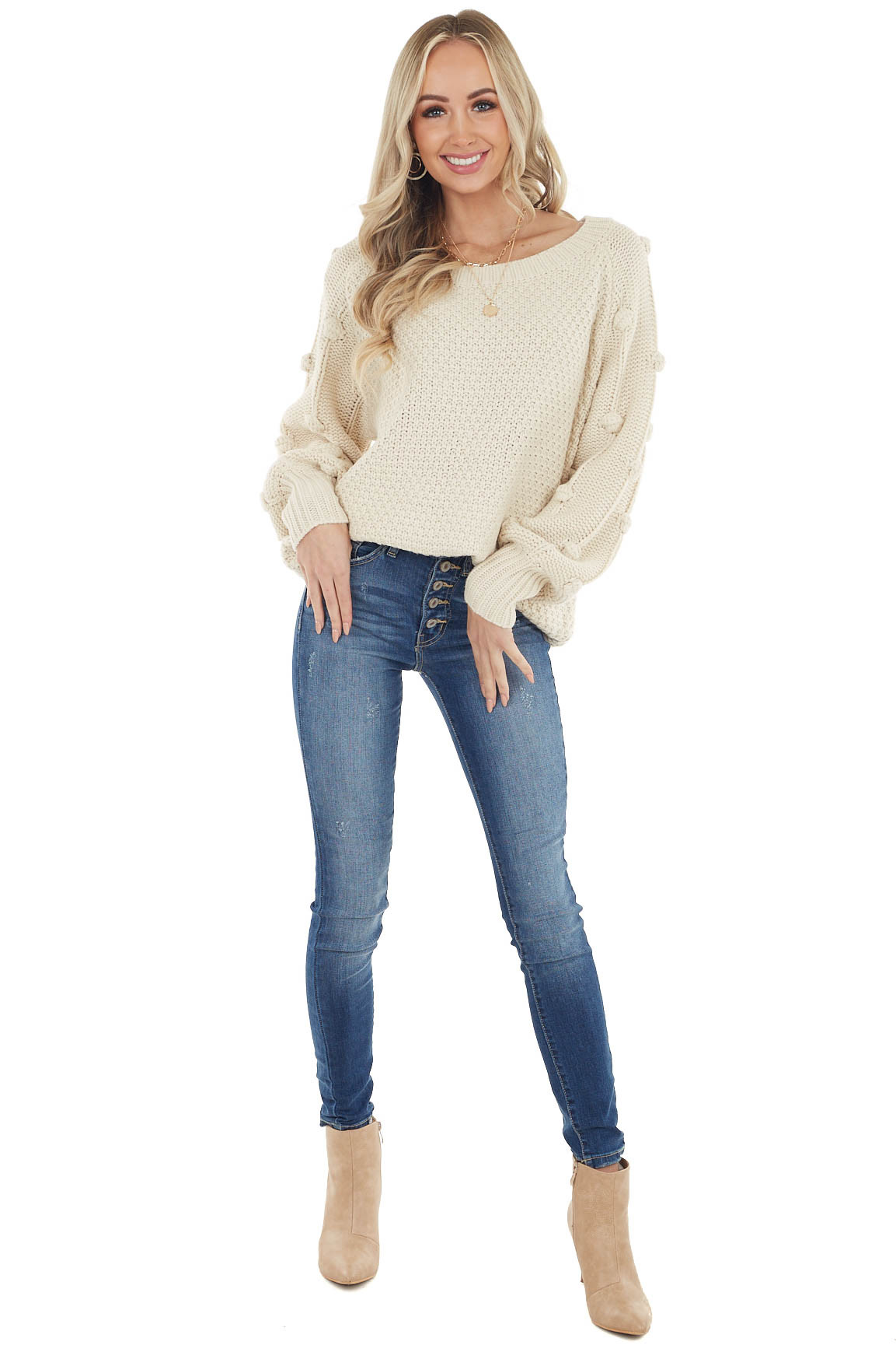 Cream Long Sleeve Knit Sweater with Textured Dots Detail