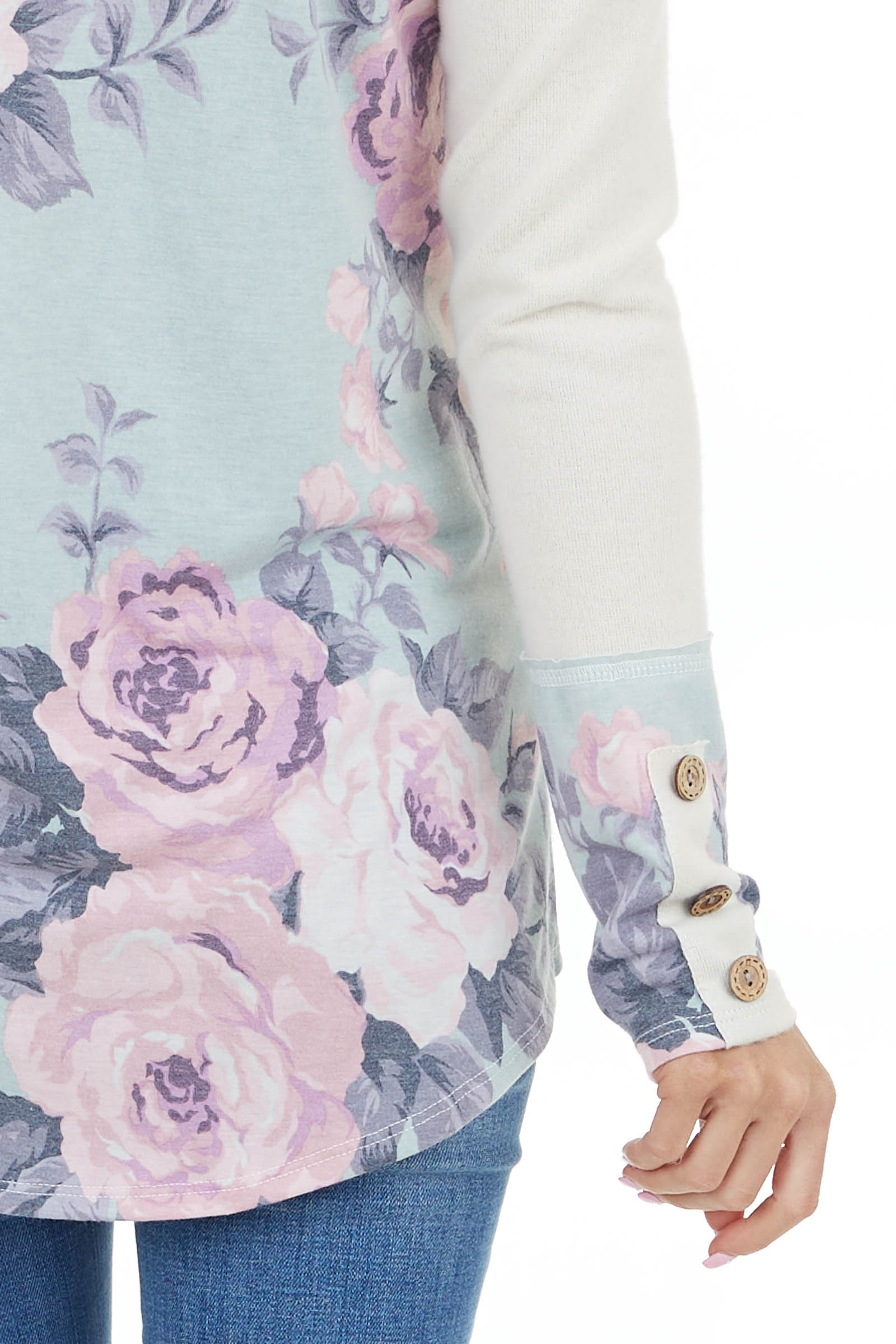 Light Oatmeal Long Sleeve Knit Top with Floral Colorblock