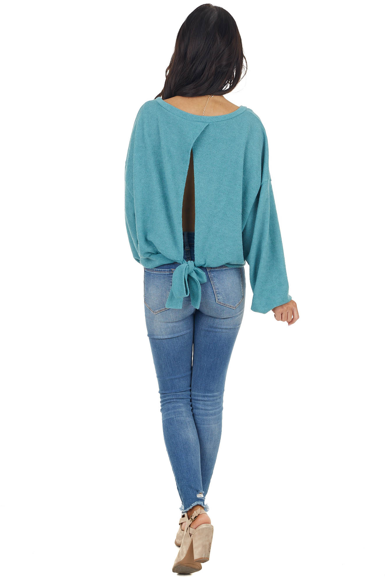 Dark teal Ribbed Knit Puff Sleeve Top with Open Back and Tie