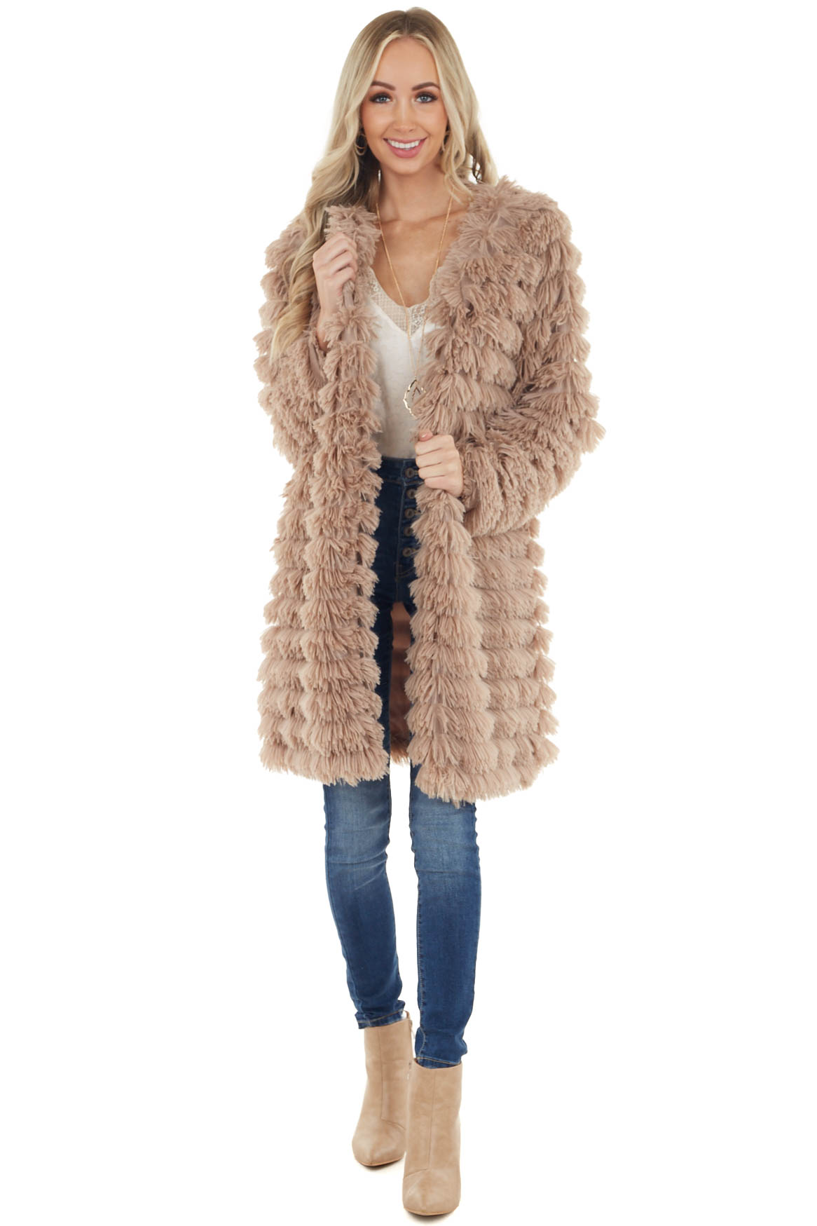Mocha Faux Fur Long Sleeve Cardigan with Front Pockets