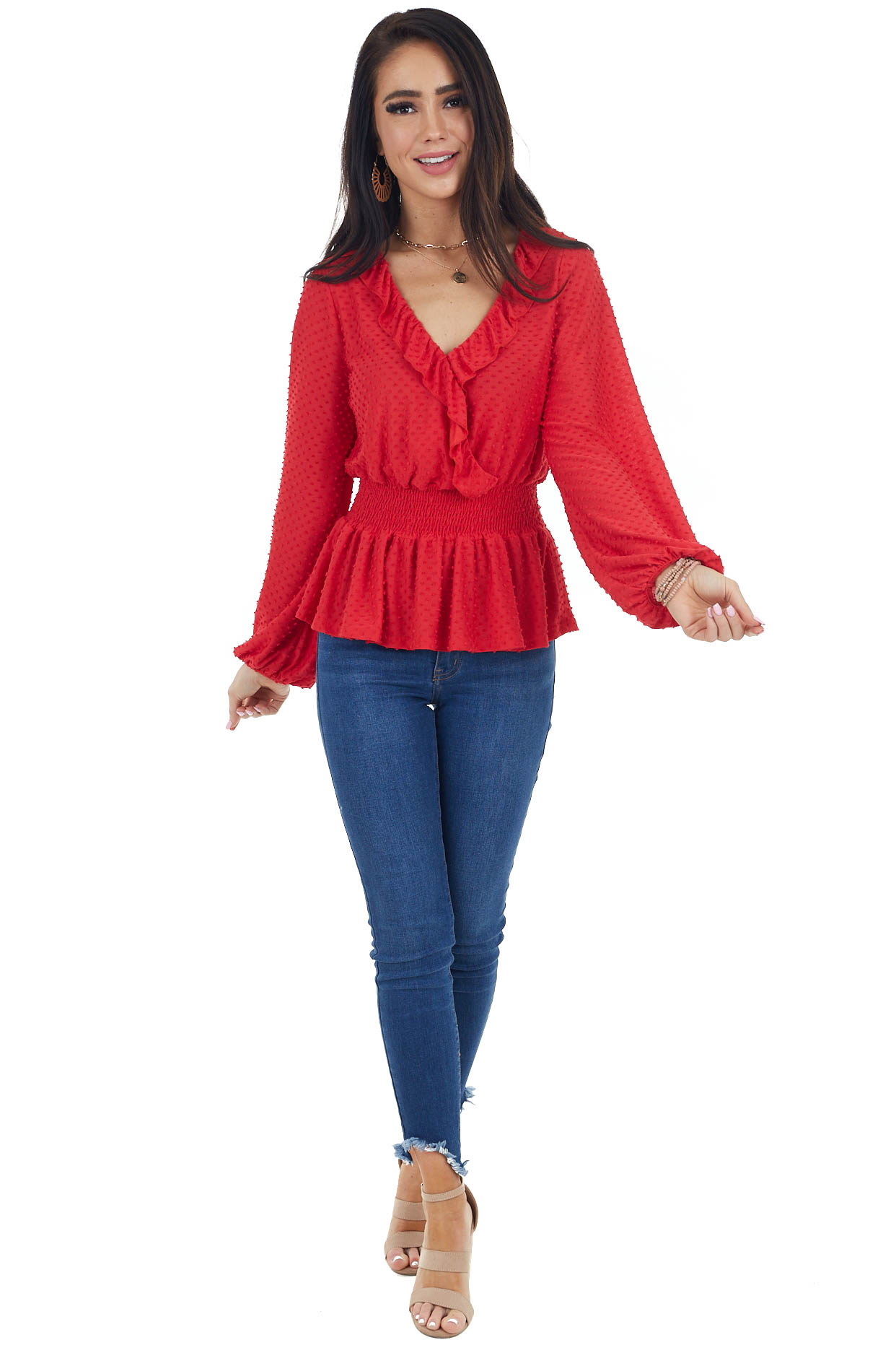 Candy Apple Red Surplice Ruffled Top with Swiss Dots