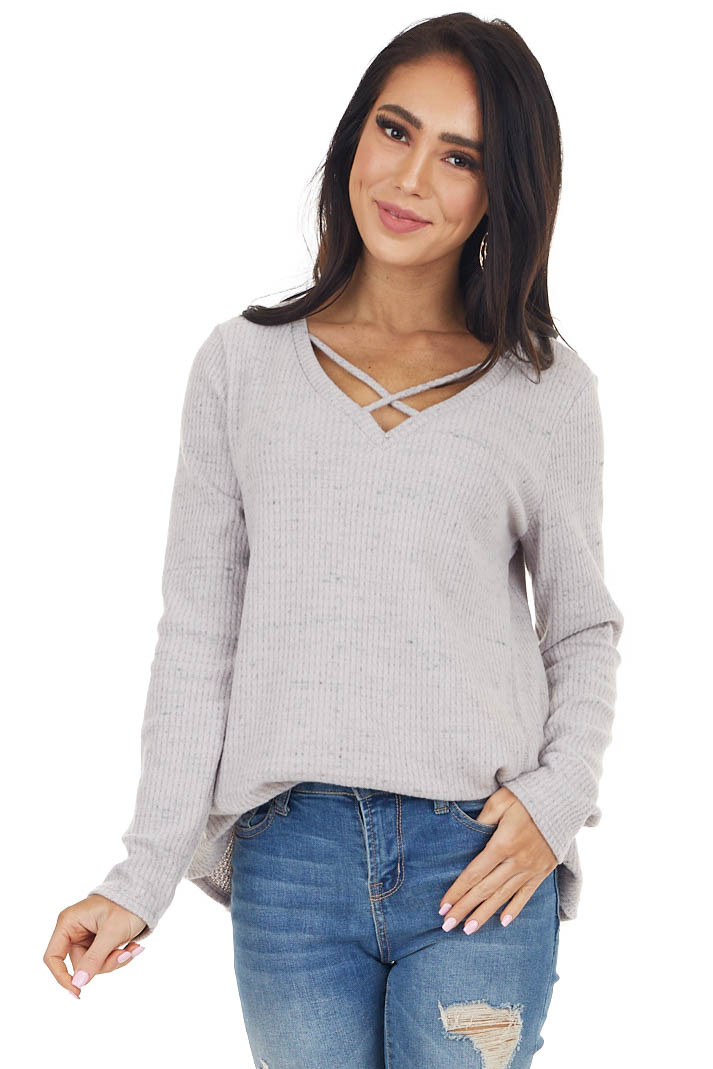 Dusty Lavender V Neck Top with Criss Cross Details