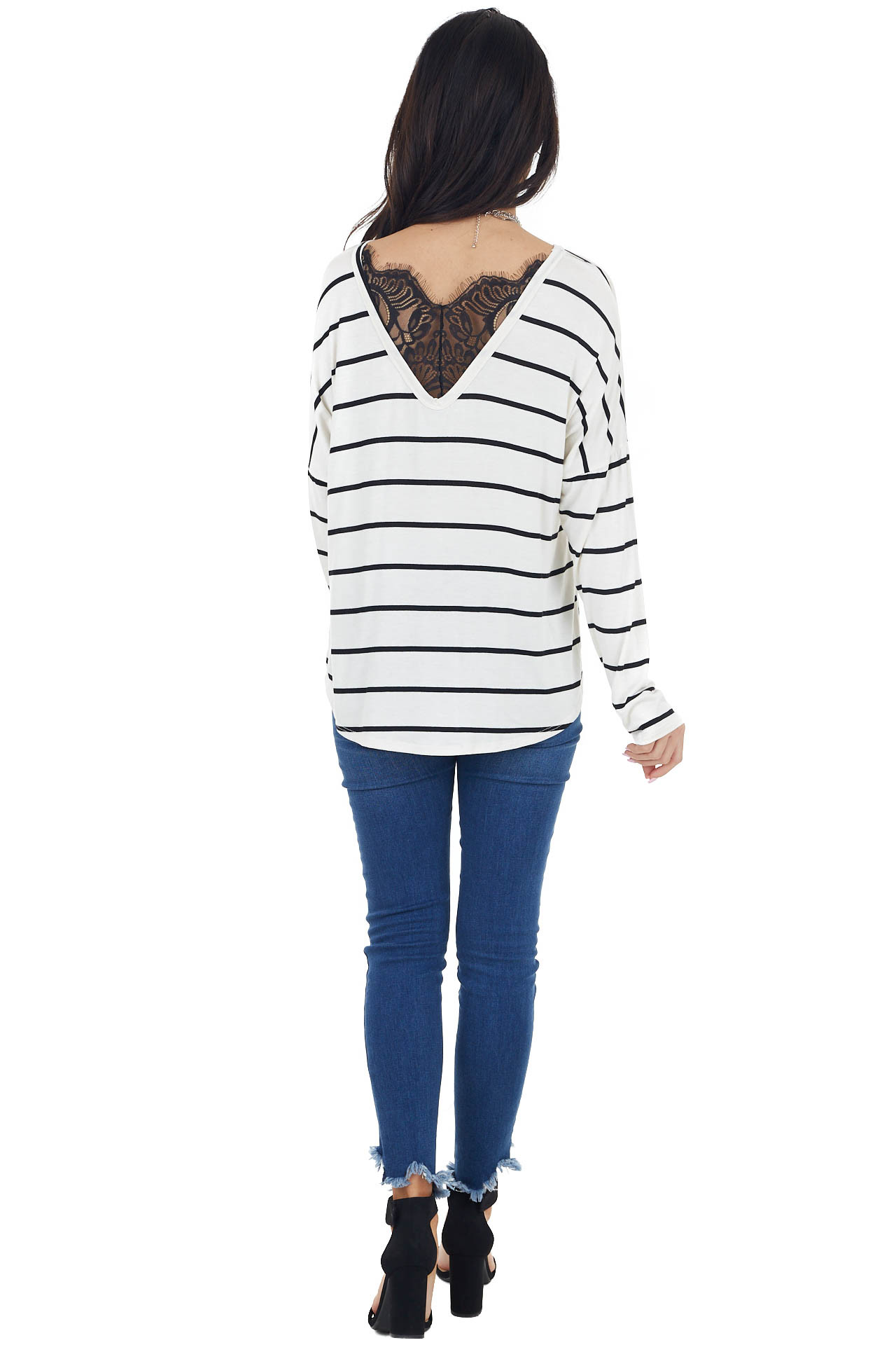 Ivory Striped Long Sleeve Knit Top with Back Lace Detail
