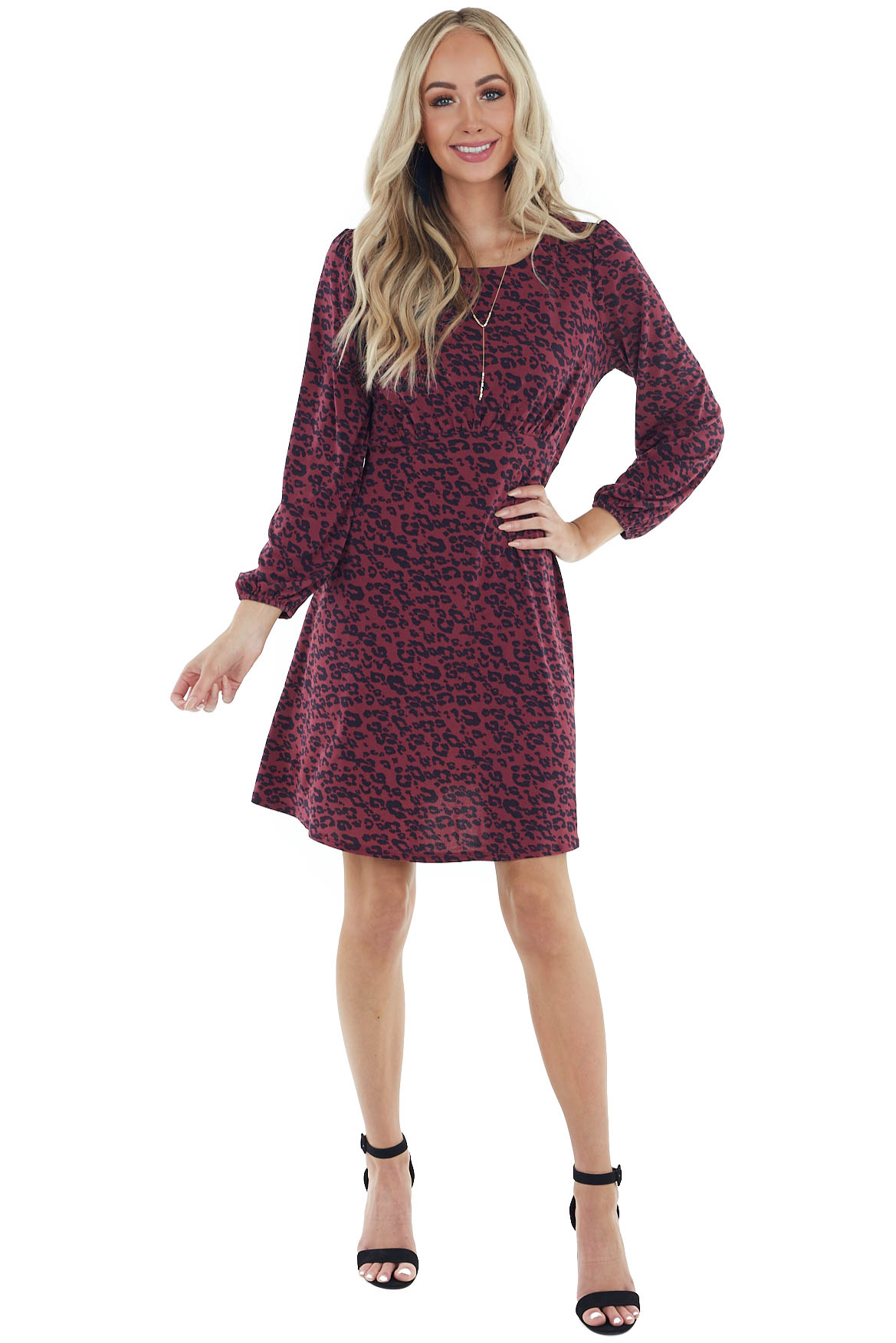 Mulberry and Charcoal Leopard Print Long Sleeve Dress