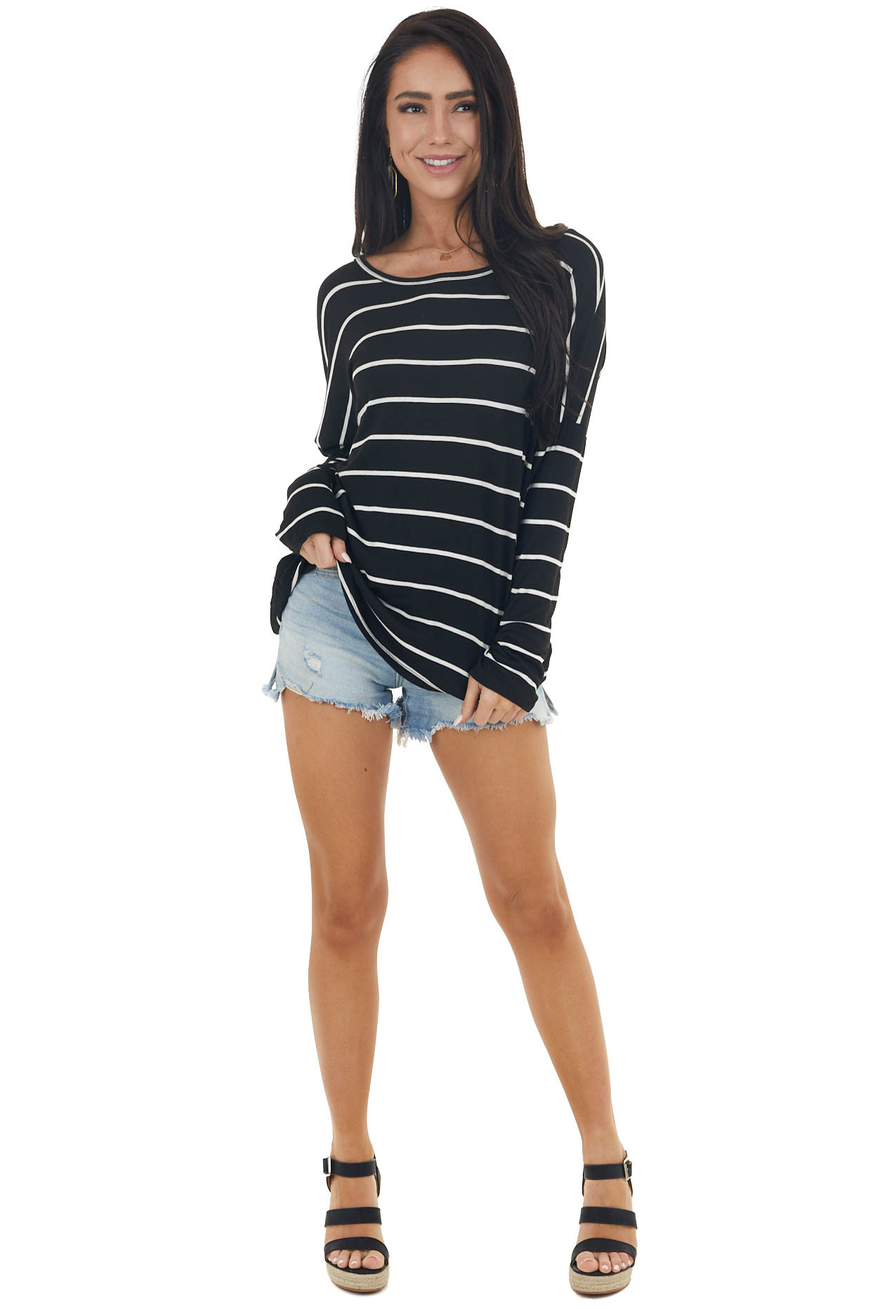 Black Striped Long Sleeve Knit Top with Back Lace Detail