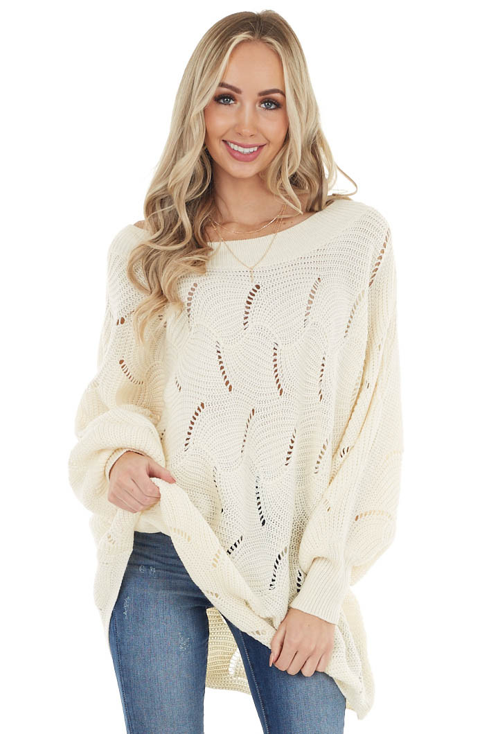 Ivory Textured Knit Long Bubble Sleeve Lightweight Sweater