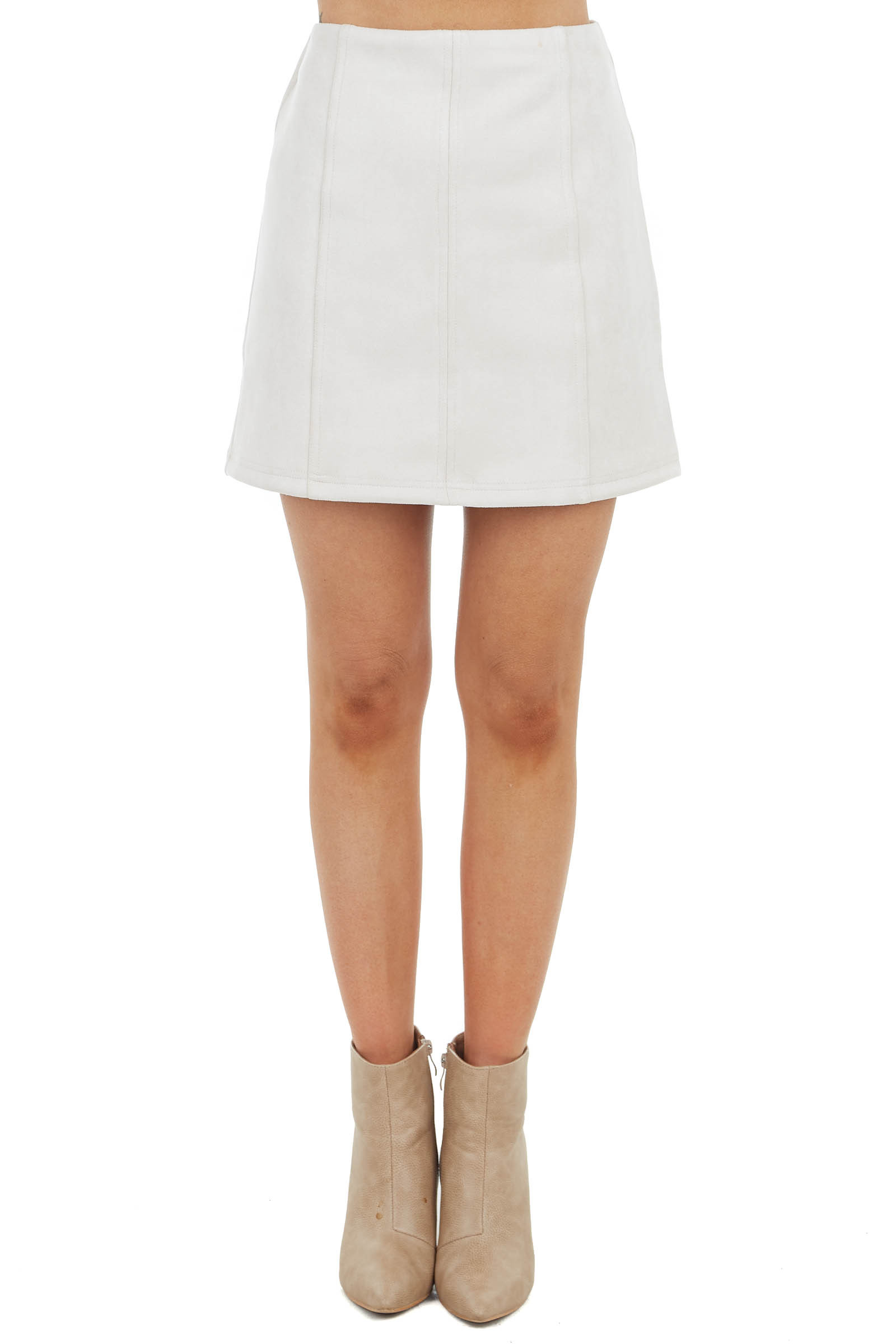 Light Oatmeal Soft Faux Suede Mini Skirt with Seam Details