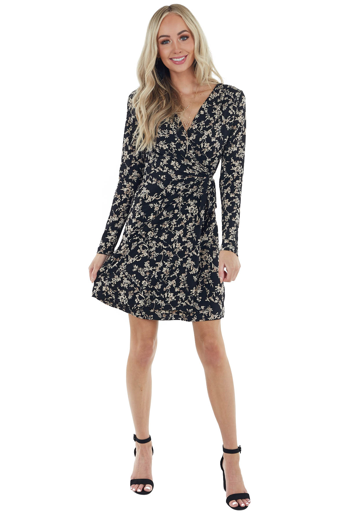 Black and Oatmeal Floral Faux Wrap Dress with Long Sleeves