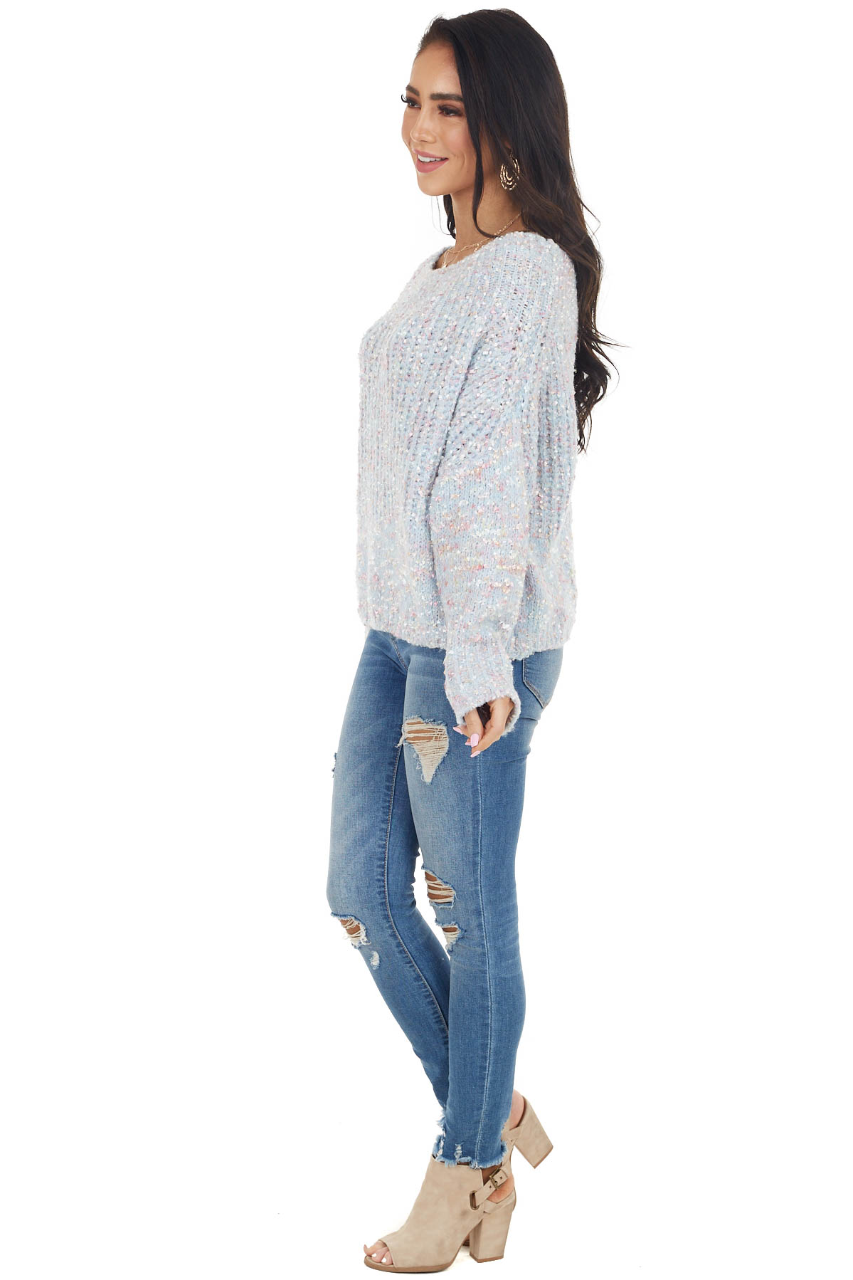 Baby Blue Boat Neck Sweater with Multicolor Thread Detail
