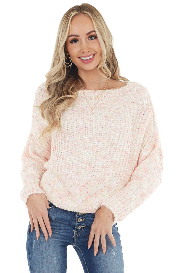 Blush Boat Neck Sweater with Multicolor Thread Detail