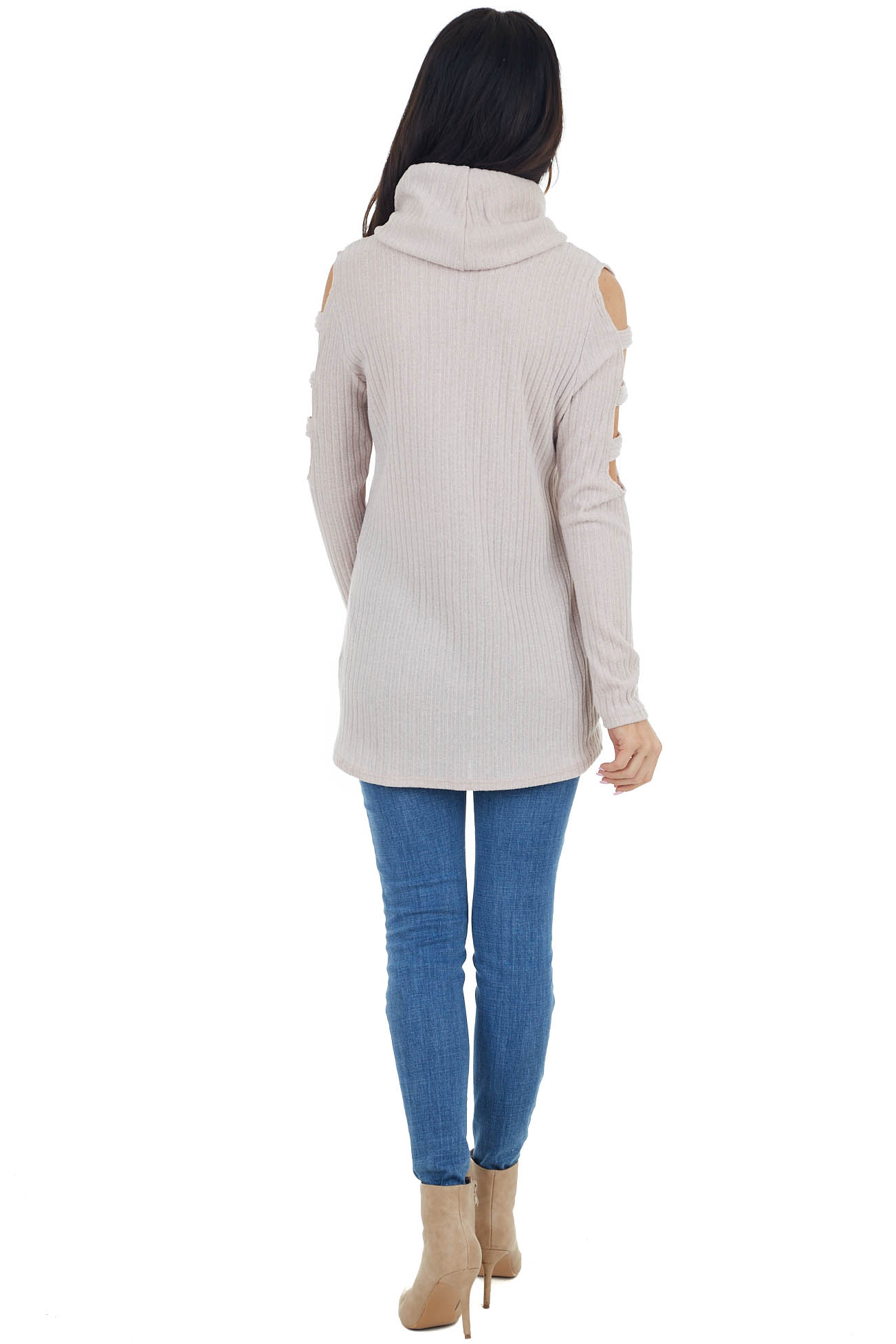 Latte Ribbed Knit Long Ladder Sleeve Cowl Neck Top