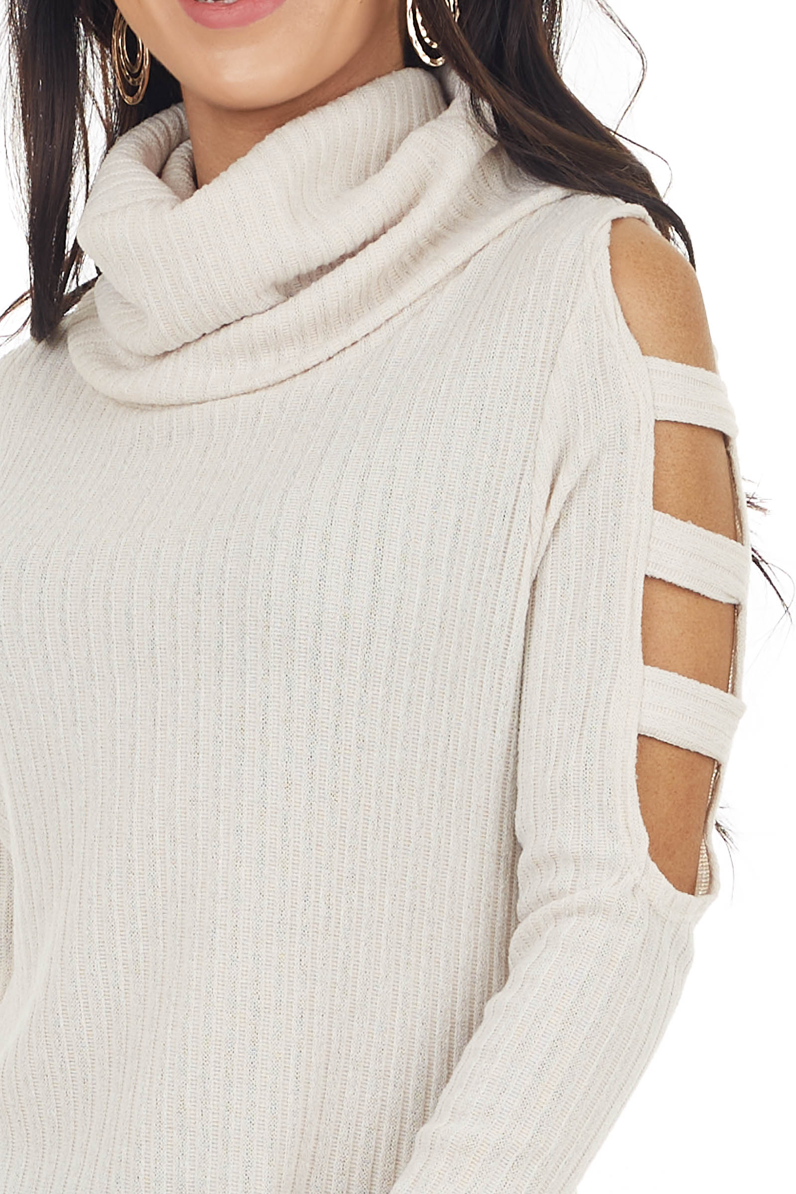 Oatmeal Ribbed Knit Long Ladder Sleeve Cowl Neck Top