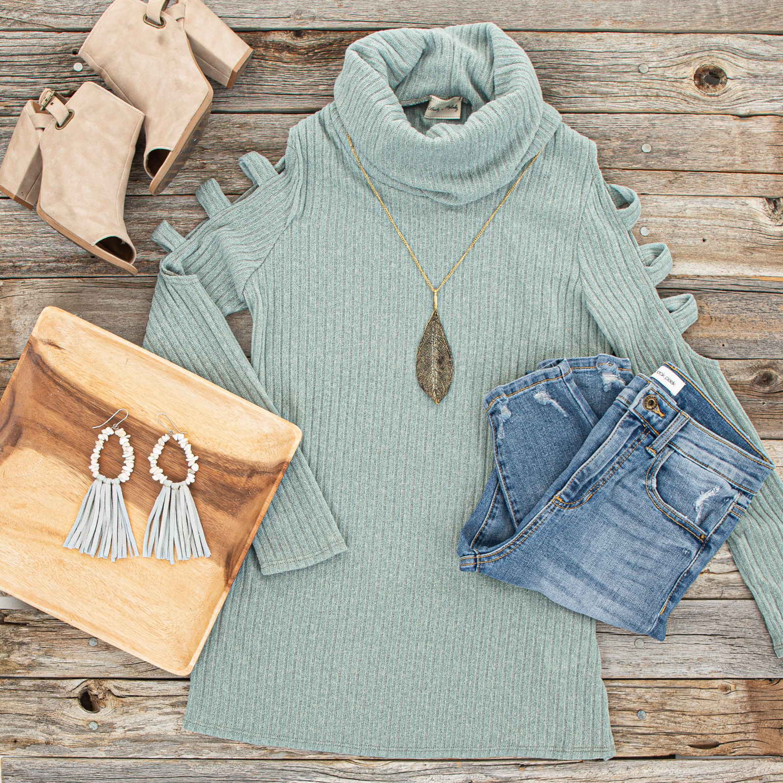 Sage Ribbed Knit Long Ladder Sleeve Cowl Neck Top