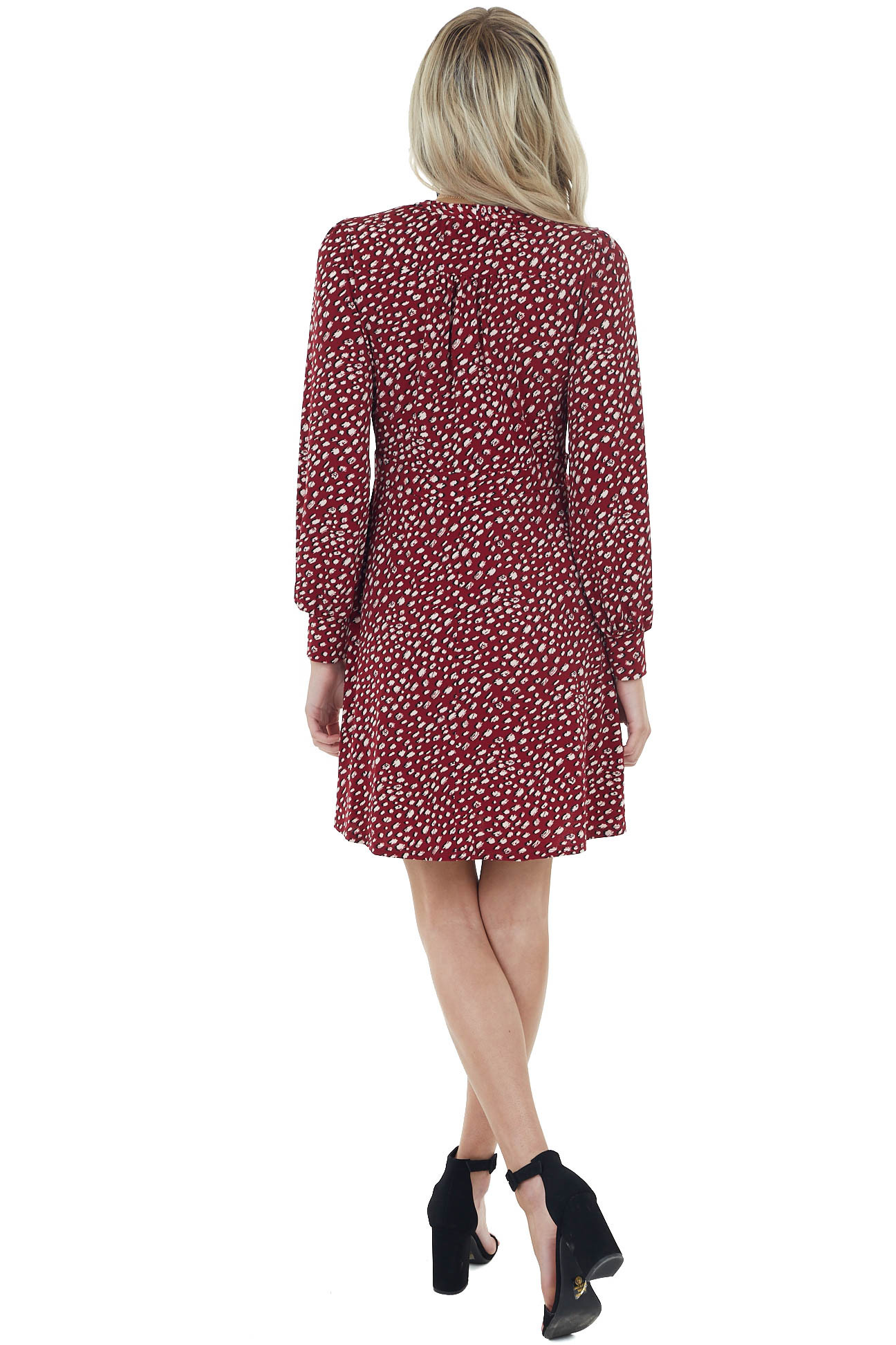 Wine Printed Surplice Dress with Long Bubble Sleeves