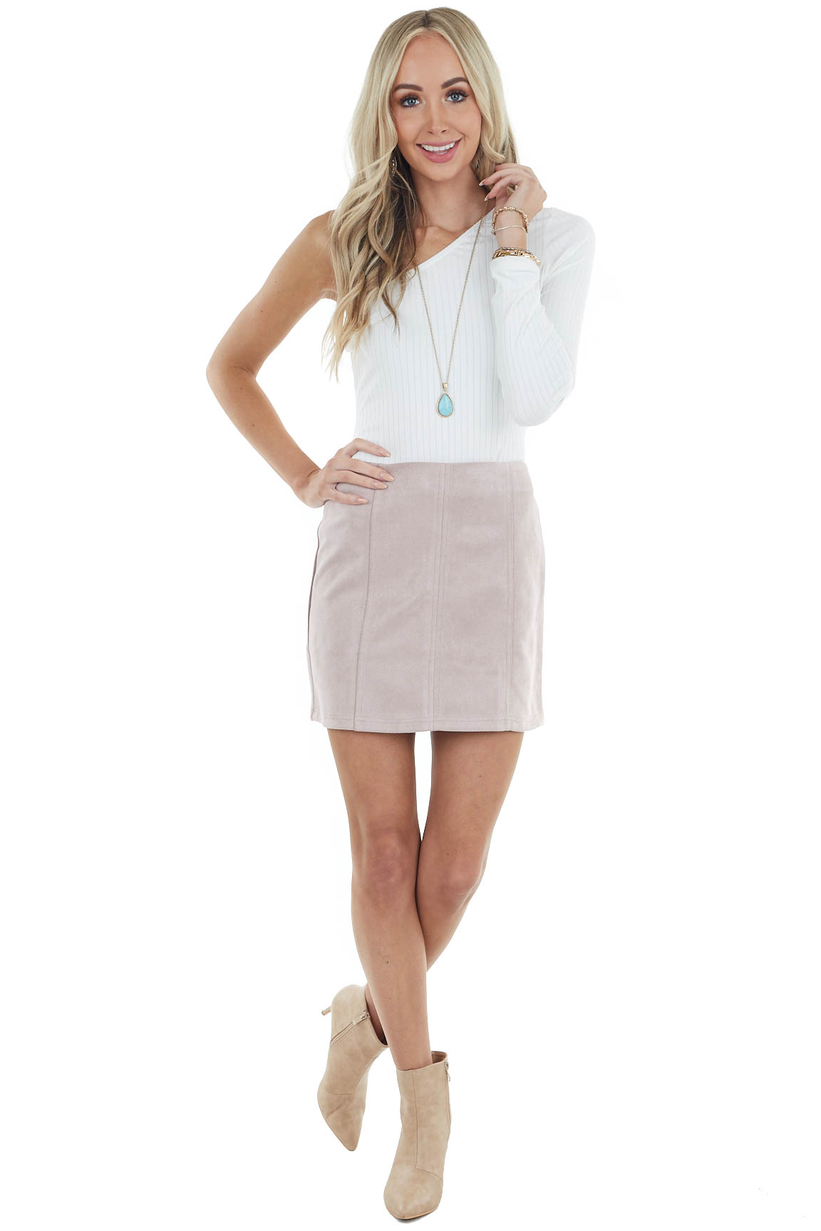 Blush Soft Faux Suede Mini Skirt with Seam Details