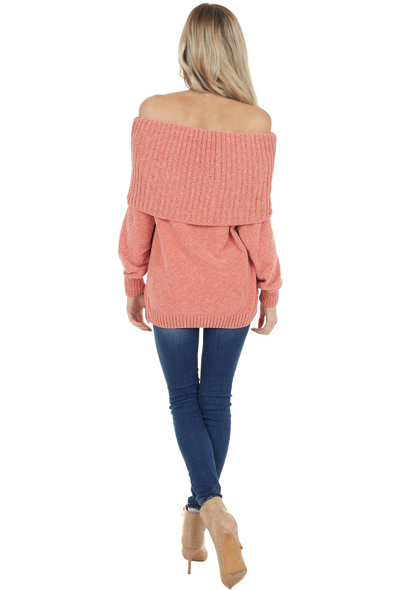 Coral Long Sleeve Off the Shoulder Super Soft Sweater