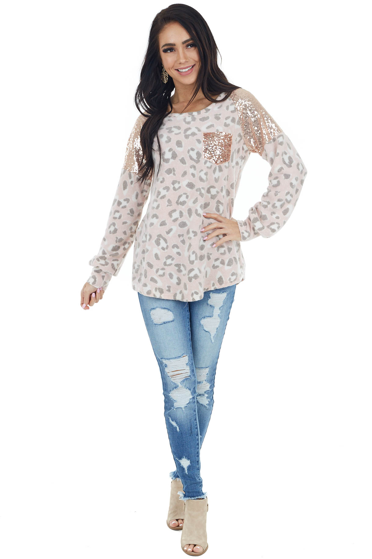 Blush Leopard Print Long Sleeve Knit Top with Sequin Detail