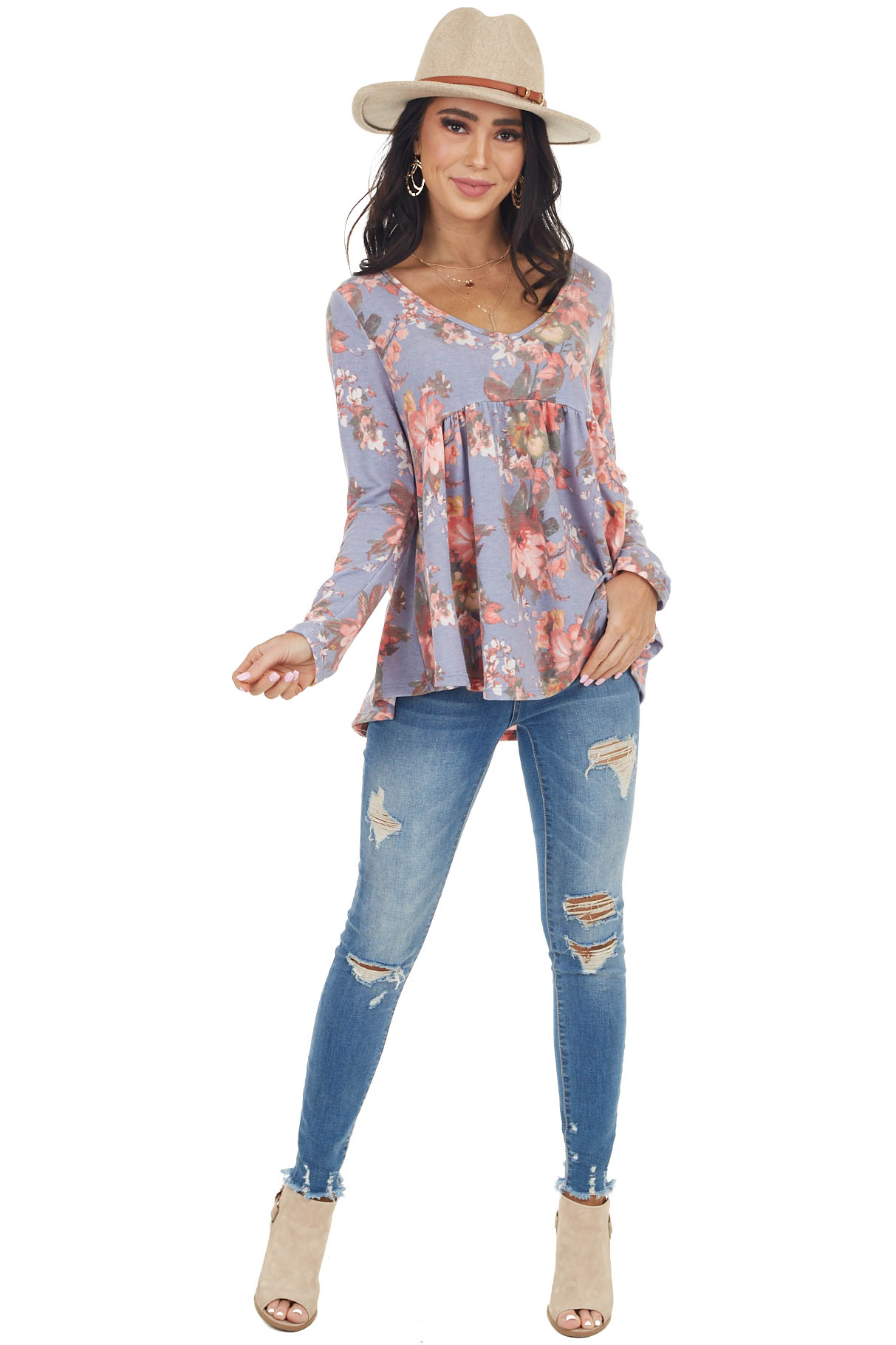 Dusty Violet Floral Print Long Sleeve Babydoll Knit Top