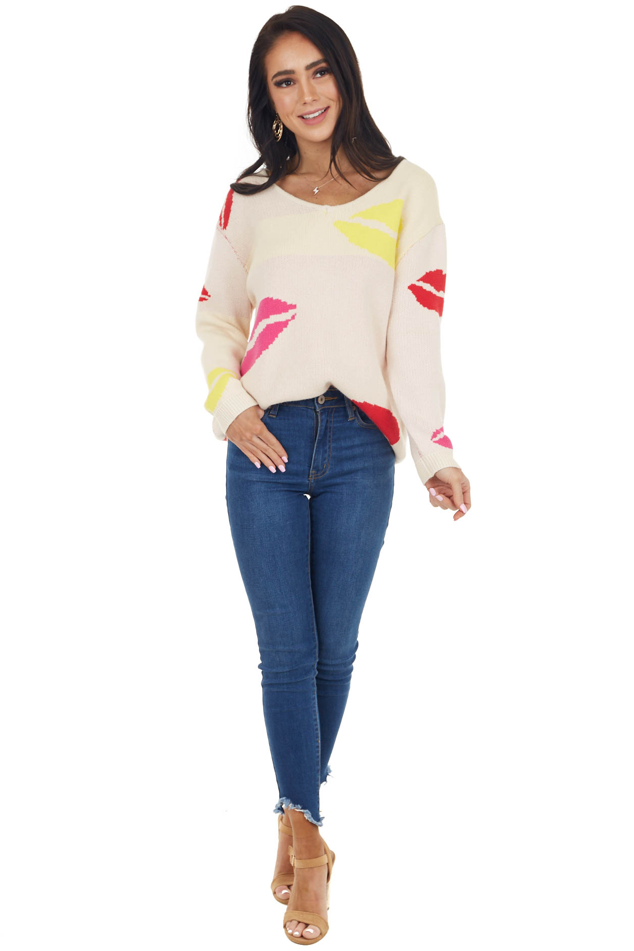 Cream and Multicolor Lip Print Sweater with Long Sleeves