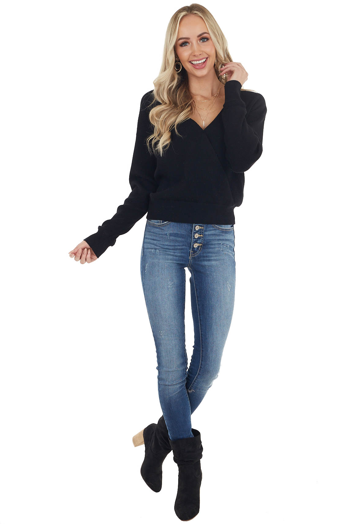 Black Surplice Sweater with Long Drop Shoulder Sleeves