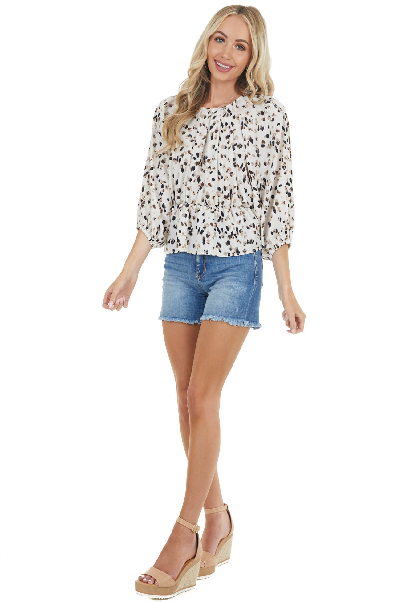 Cream Patterned Dolman Sleeve Blouse with Elastic Waist