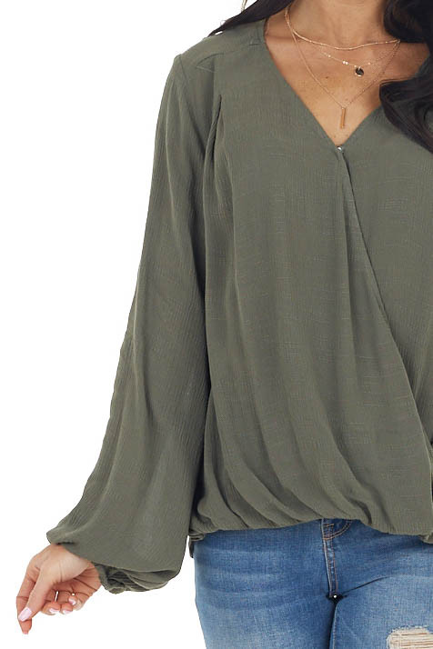 Olive Long Bubble Sleeve Surplice Blouse with Button Clasp
