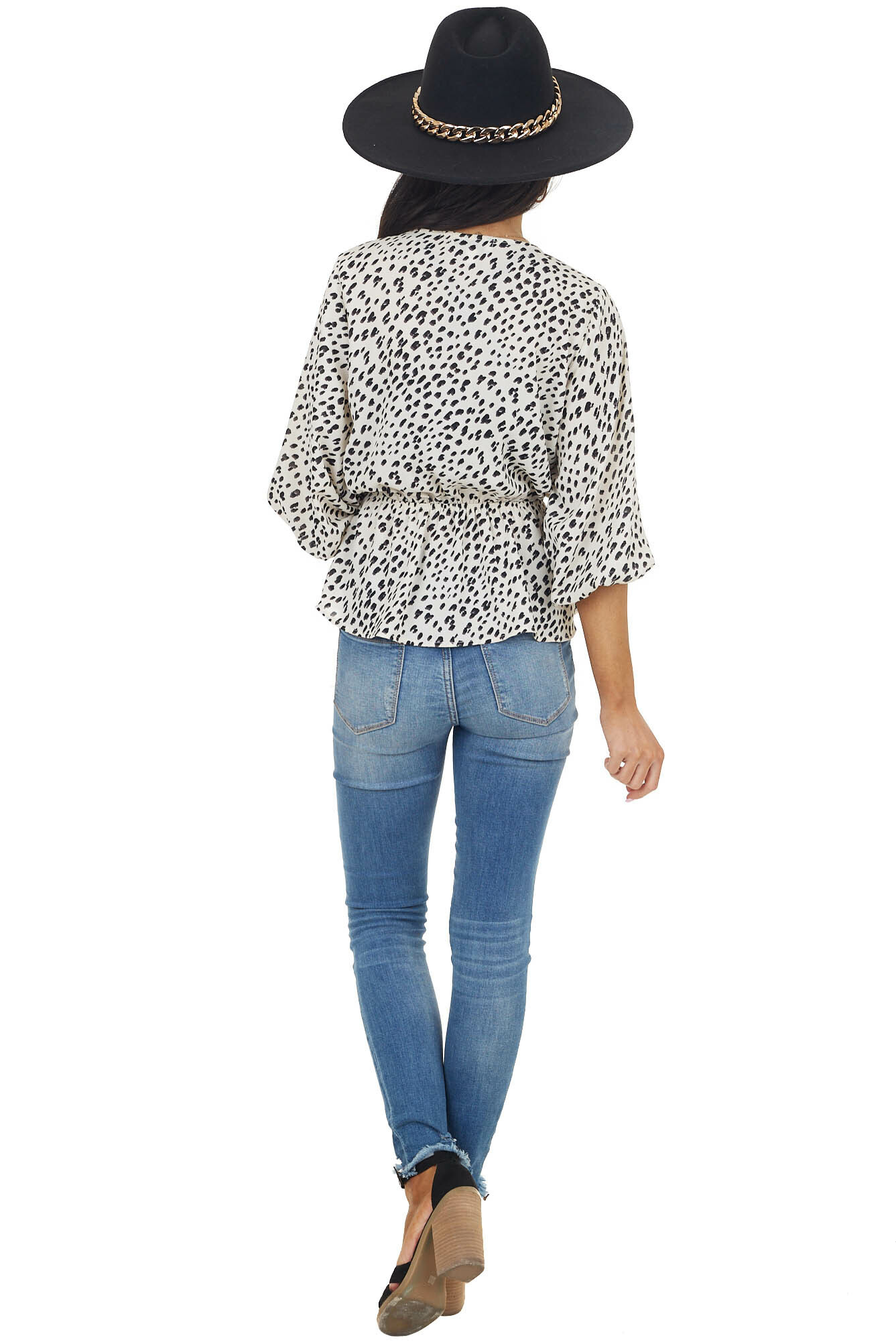 Ivory and Black Leopard Print Top with Bubble Sleeves