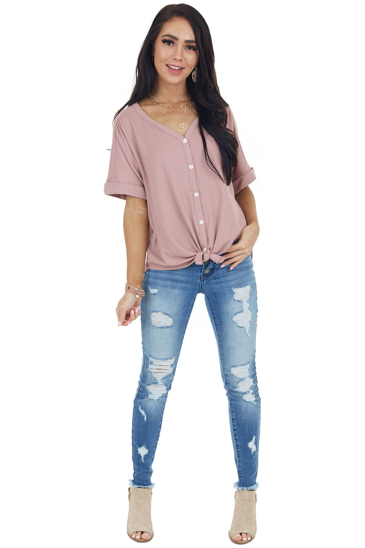 Dusty Rose Waffle Knit Button Up Top with Front Tie Detail