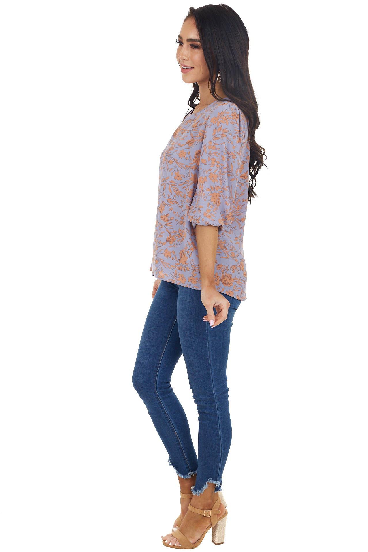 Lilac Floral Pattern 3/4 Sleeve Top with Back Keyhole Detail